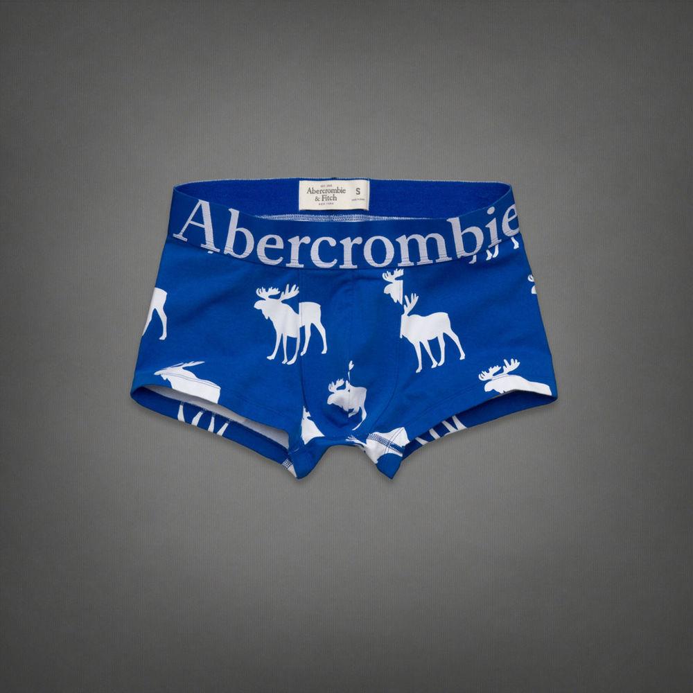美國百分百【全新真品】Abercrombie & Fitch 內褲 AF 四角褲 平口褲 麋鹿 寶藍 棉質 Logo 男 L號