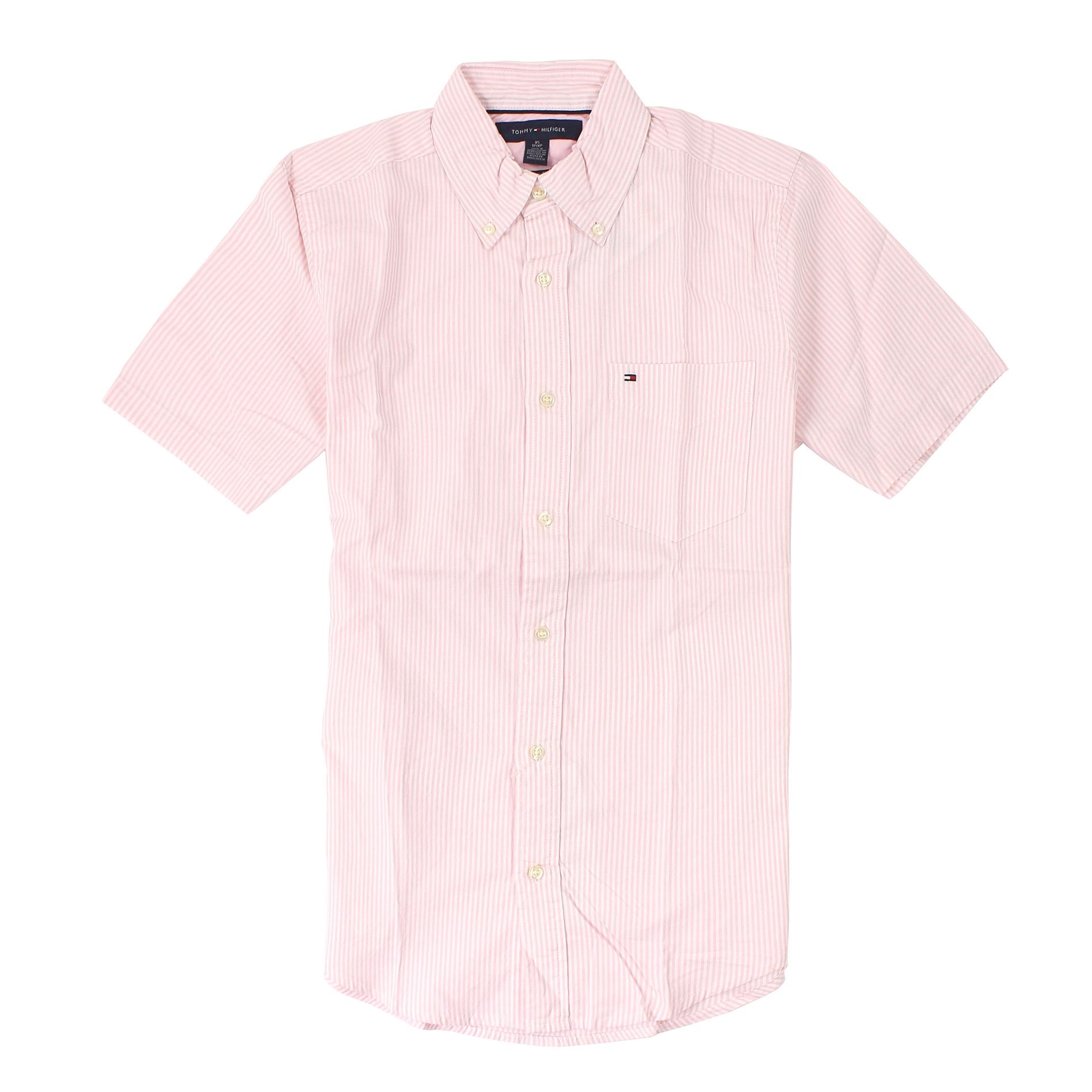 美國百分百【全新真品】Tommy Hilfiger 襯衫 TH 短袖 上衣 休閒衫 粉紅 條紋 牛津 口袋 Logo 男 XS S C322
