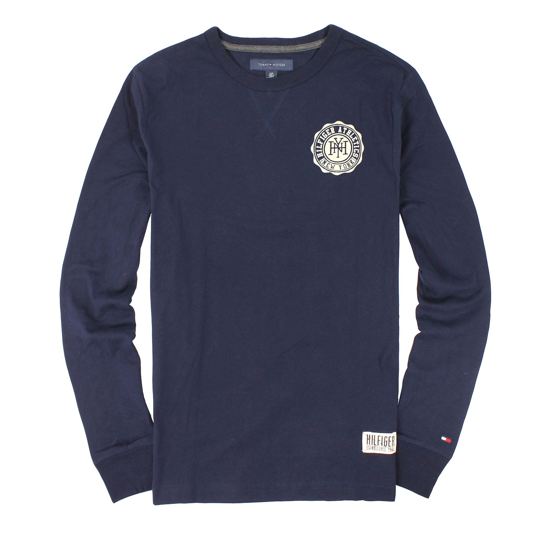 美國百分百【全新真品】Tommy Hilfiger T恤 TH 長袖 T-shirt 上衣 深藍 Logo 假V領 麂皮 男 S M號