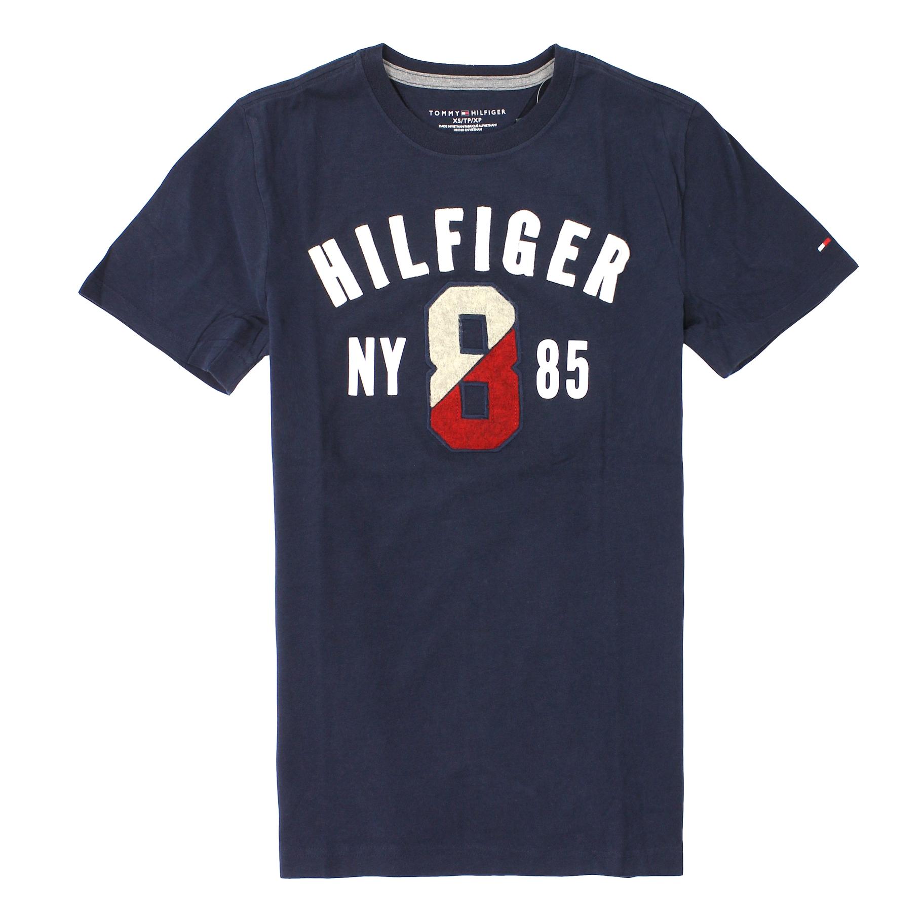 美國百分百【全新真品】Tommy Hilfiger T恤 TH 短袖 T-shirt 上衣 深藍 刺繡 Logo 數字 男 XS S M