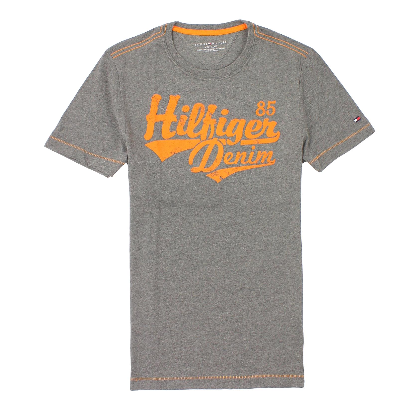 美國百分百【全新真品】Tommy Hilfiger T恤 TH 短袖 T-shirt 上衣 灰 Logo 文字 印刷 男 XS S號