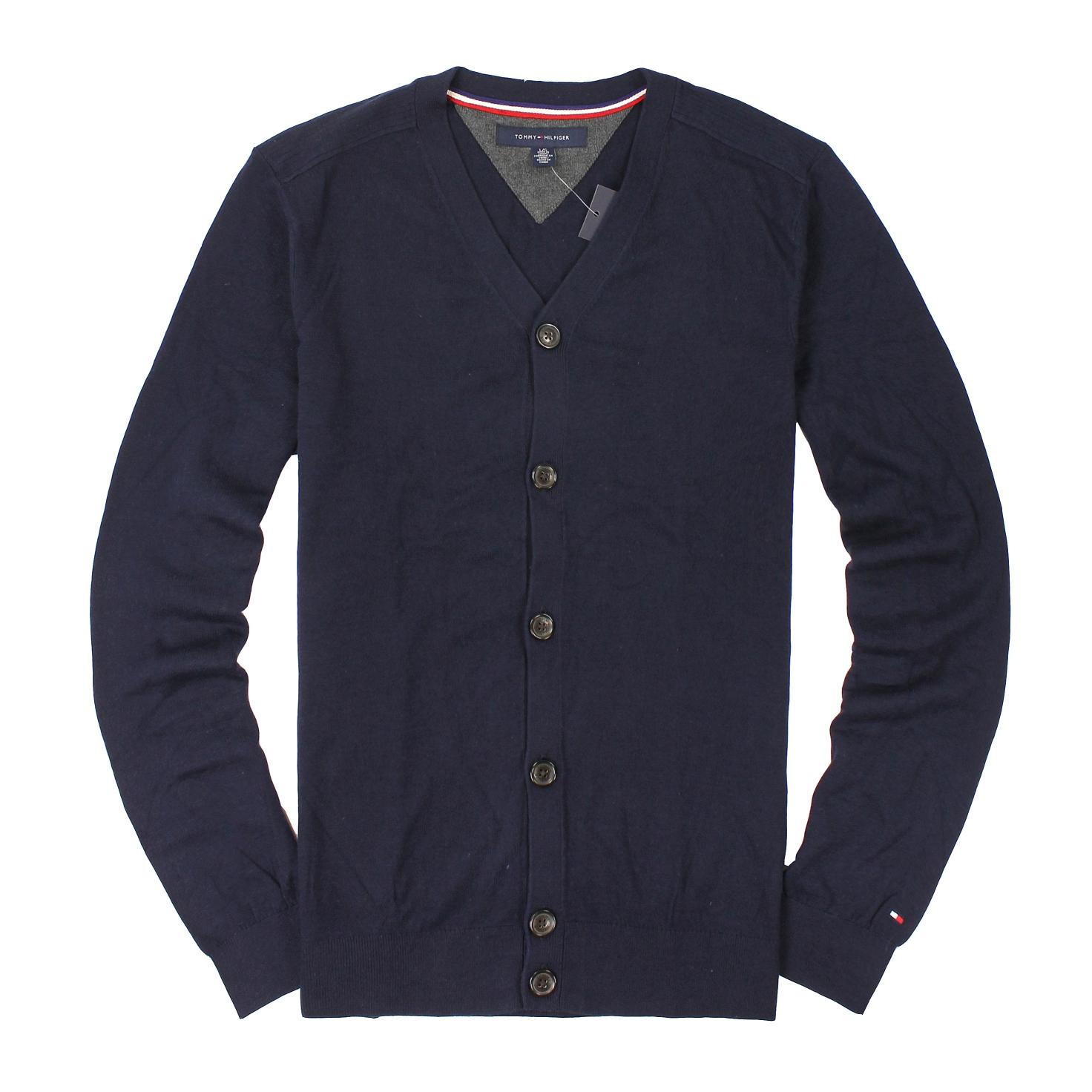 美國百分百【全新真品】Tommy Hilfiger 針織衫 TH 罩衫 線衫 開襟 外套 深藍 素面 大尺 男 L XL號 A786