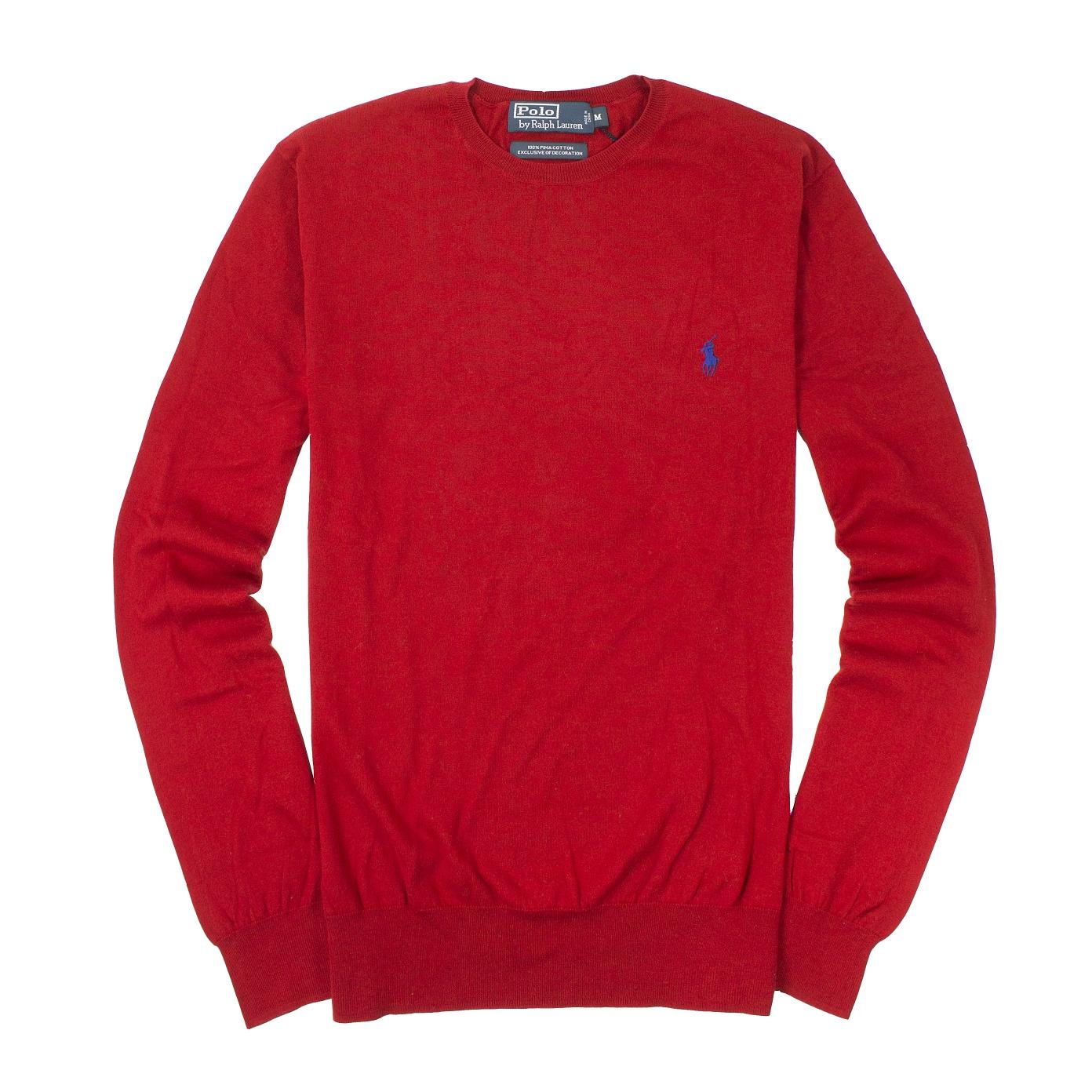 美國百分百【全新真品】Ralph Lauren 針織衫 RL 長袖 線衫 上衣 Polo 小馬 紅 圓領 薄 男 M號 B025