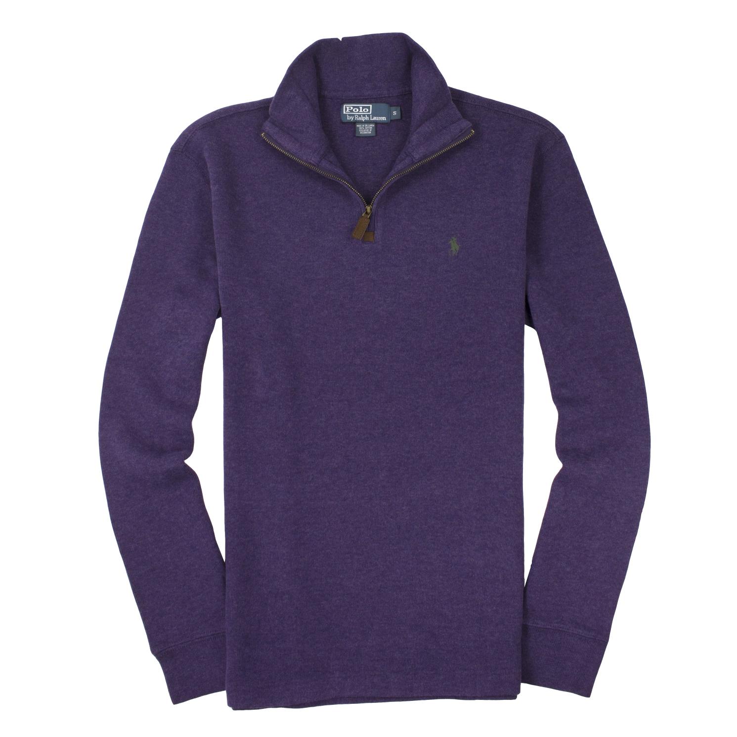 美國百分百【全新真品】Ralph Lauren 針織衫 RL 長袖 線衫 Polo 小馬 紫 半拉 麂皮 厚棉 男 S M號 B027