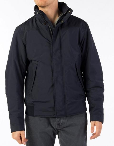 美國百分百【全新真品】Hugo Boss 外套 連帽外套 夾克 鋪棉 防風 型男 Logo 深藍 男 M號 A878
