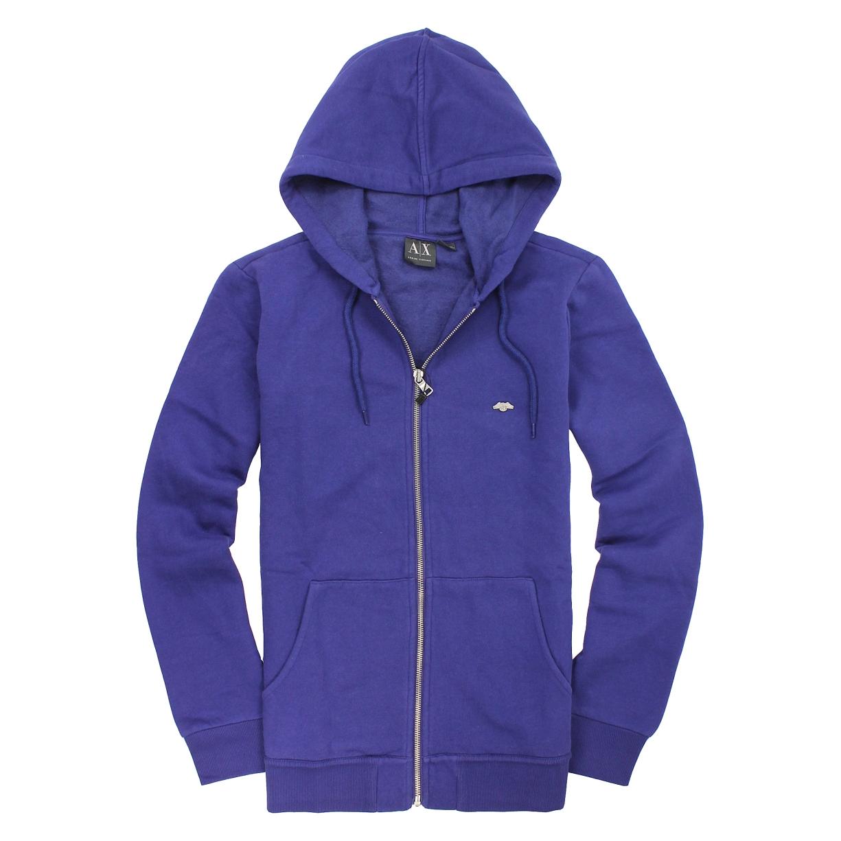 美國百分百【全新真品】Armani Exchange 外套 AX 連帽外套 夾克 亞曼尼 寶藍 Logo 男 S號 A871