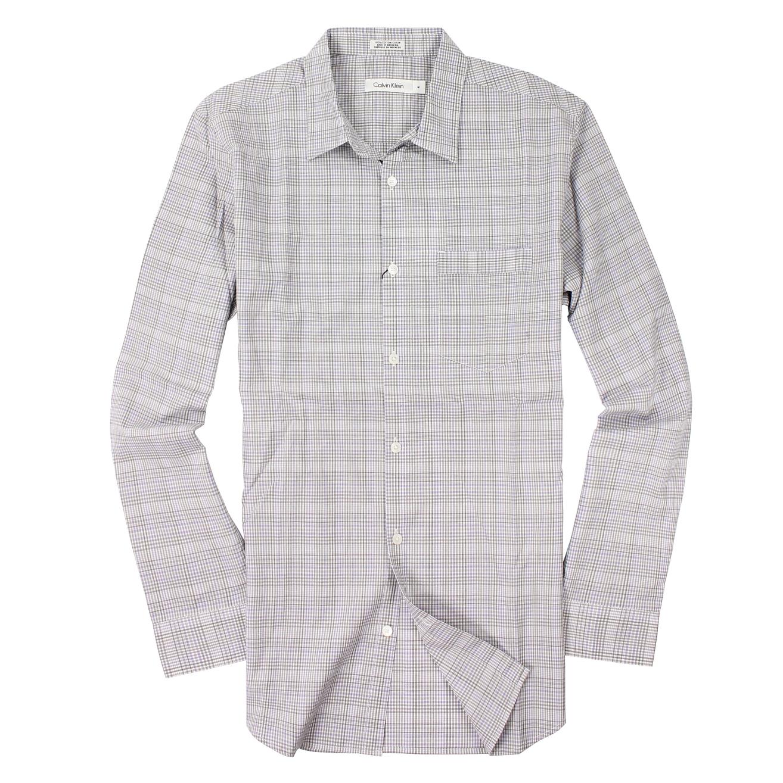 美國百分百【全新真品】Calvin Klein 襯衫 CK 長袖 上衣 灰藍 純棉 春夏 薄 口袋 格紋 男 M號 A935