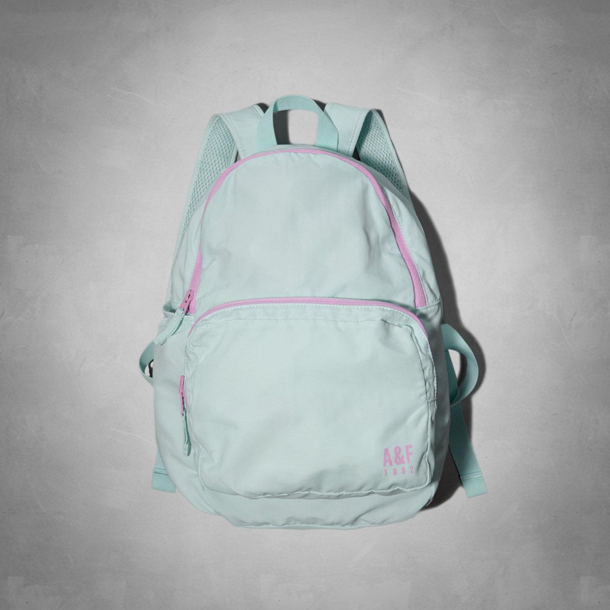 美國百分百【全新真品】Abercrombie & Fitch 後背包 AF 可收納 麋鹿 網狀 減壓 輕巧 女 粉藍 E068