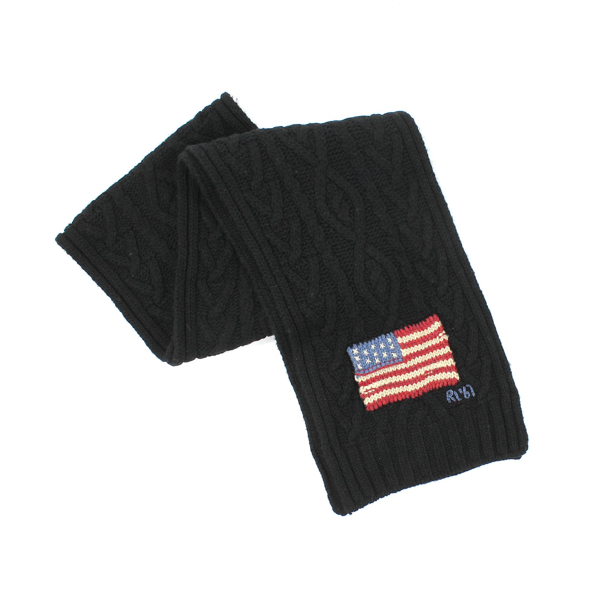 美國百分百【全新真品】Ralph Lauren 圍巾 RL 配件 羊毛 黑 美國 國旗 男 女 保暖 編織 花紋 麻花 E073