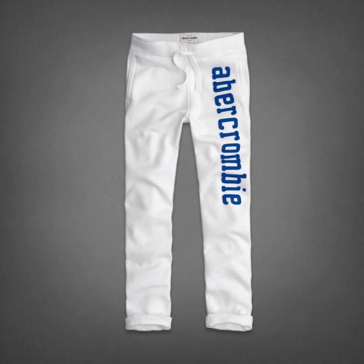 美國百分百【全新真品】Abercrombie & Fitch 褲子 AF 長褲 棉褲 麋鹿 文字 刷毛 白 口袋 S號 男 女