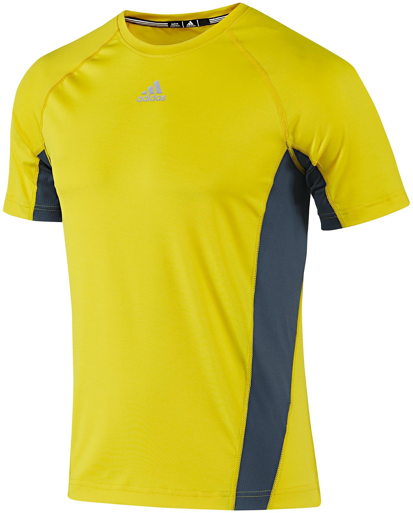 美國百分百【全新真品】Adidas T恤 愛迪達 T-shirt 短袖 上衣 彈性 螢光黃 排汗 透氣 男 S號