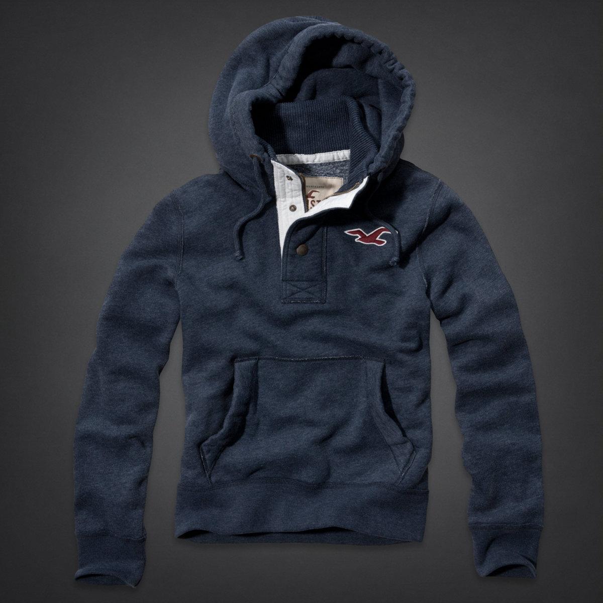 美國百分百【全新真品】Hollister Co. 帽T HCO 長袖 T-shirt 連帽外套 海鷗 刷毛 厚 保暖 男 L號 E090