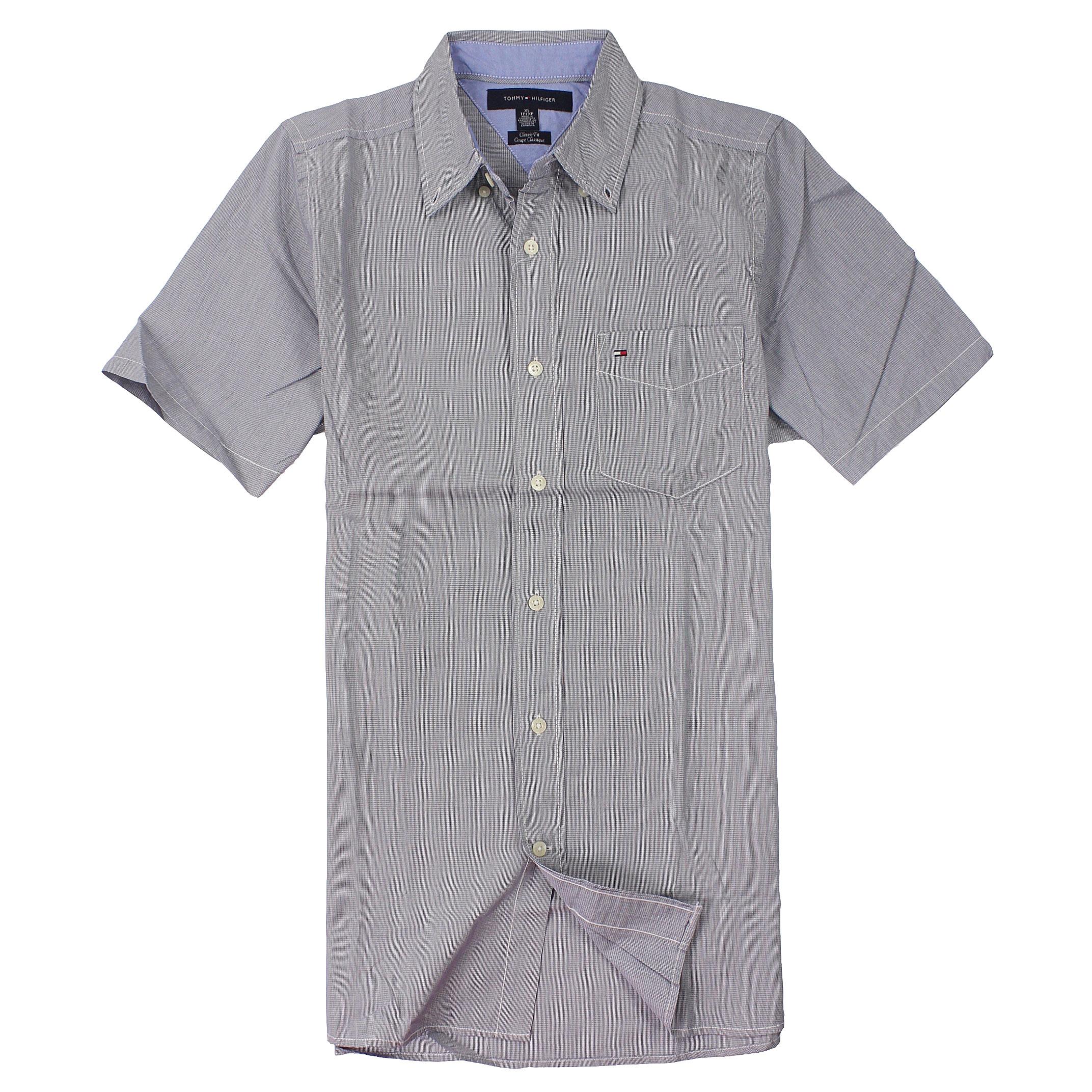 美國百分百【全新真品】Tommy Hilfiger 襯衫 TH 短袖 上衣 藍 口袋 Logo 純棉 細條紋 男 XS S號 C324
