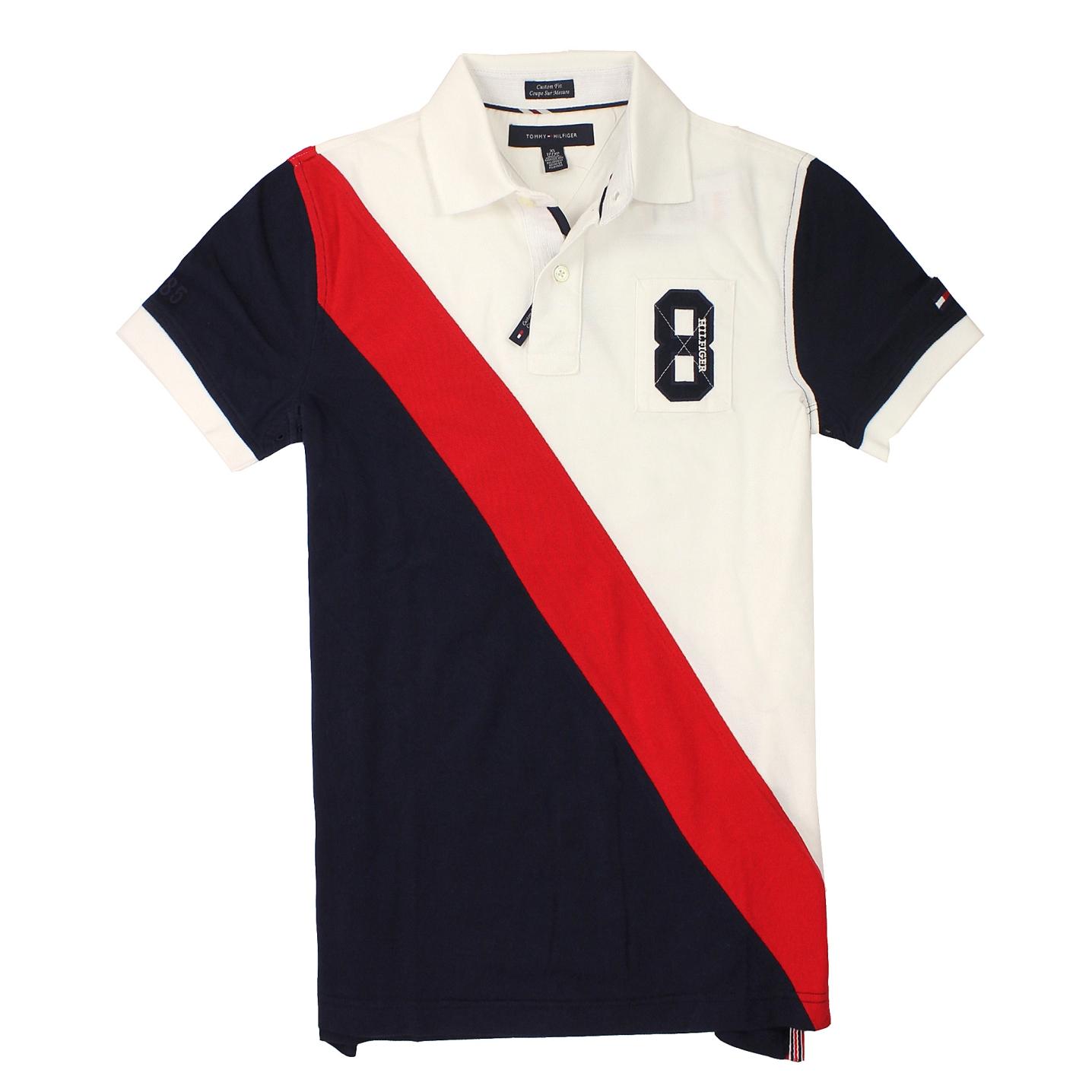 美國百分百【全新真品】Tommy Hilfiger Polo衫 TH 上衣 短袖 白 藍 紅 斜條紋 網眼 男 XXS XS S L C271