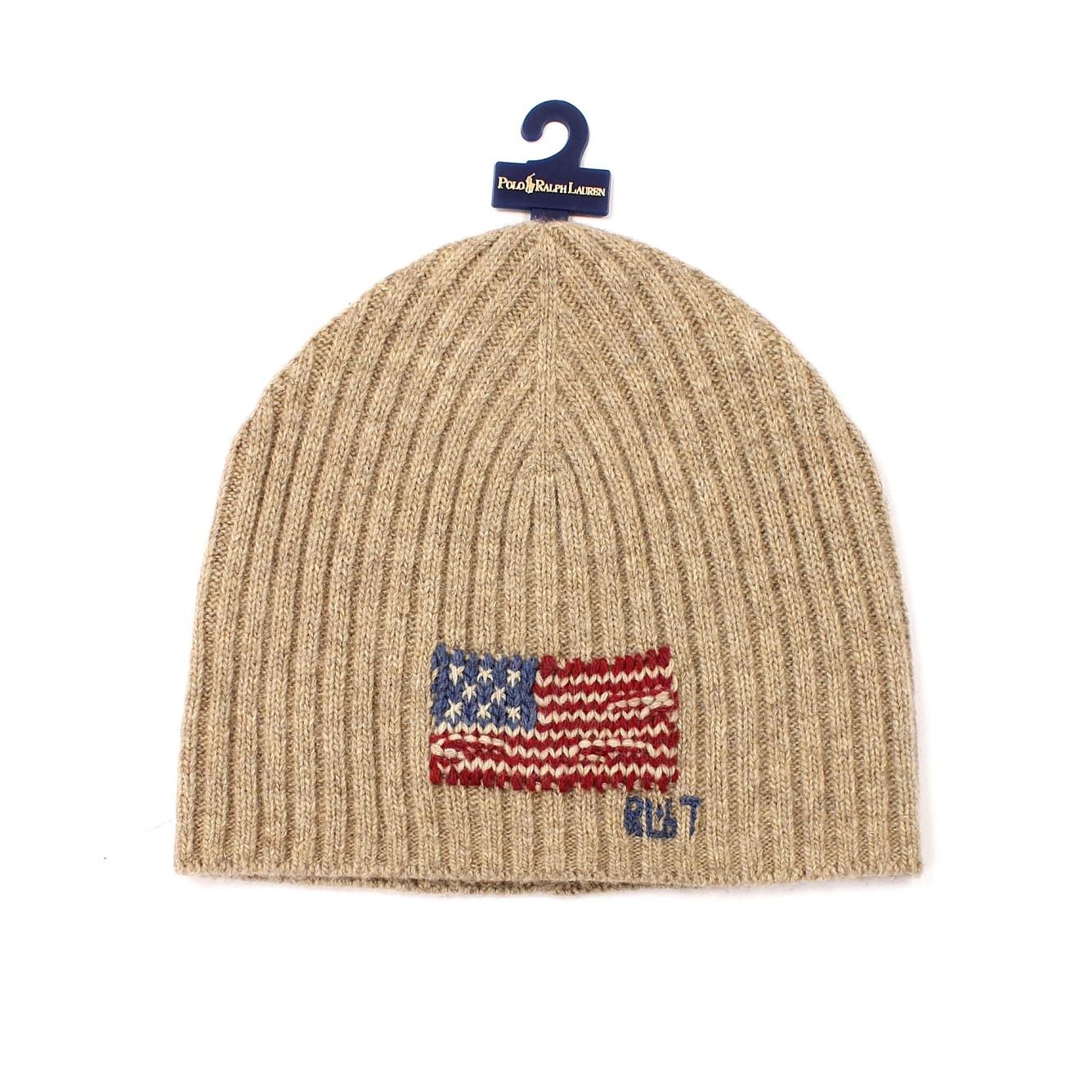 美國百分百【全新真品】Ralph Lauren 帽子 RL 毛線帽 毛帽 針織 Polo 國旗 羊毛 男 女 卡其 E081