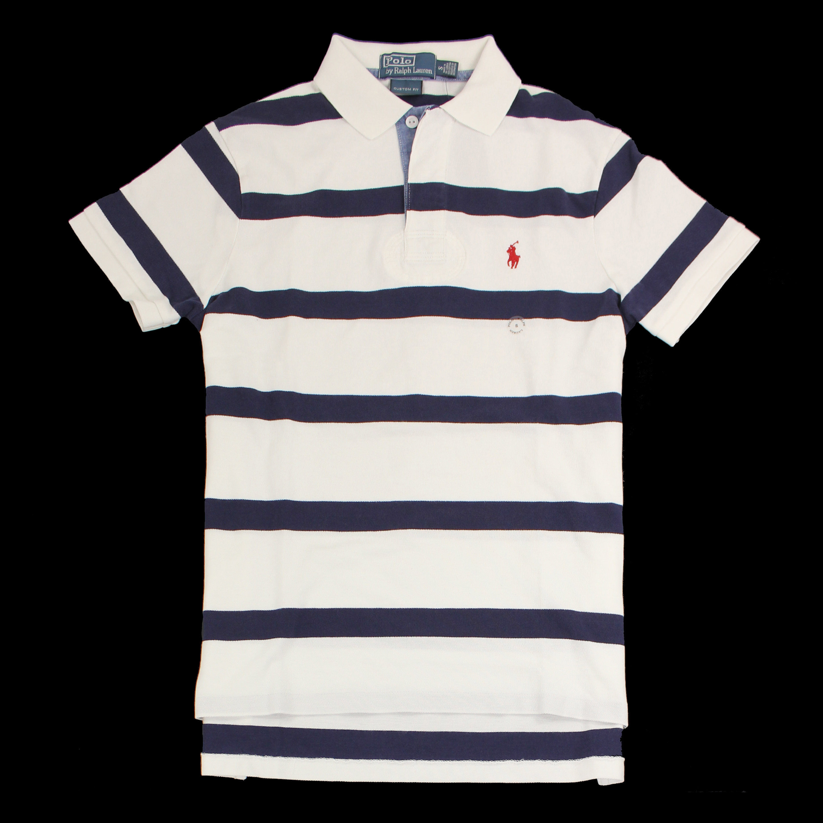 美國百分百【全新真品】Ralph Lauren Polo衫 RL 短袖 休閒 條紋 男 藍白 S XS號 E135
