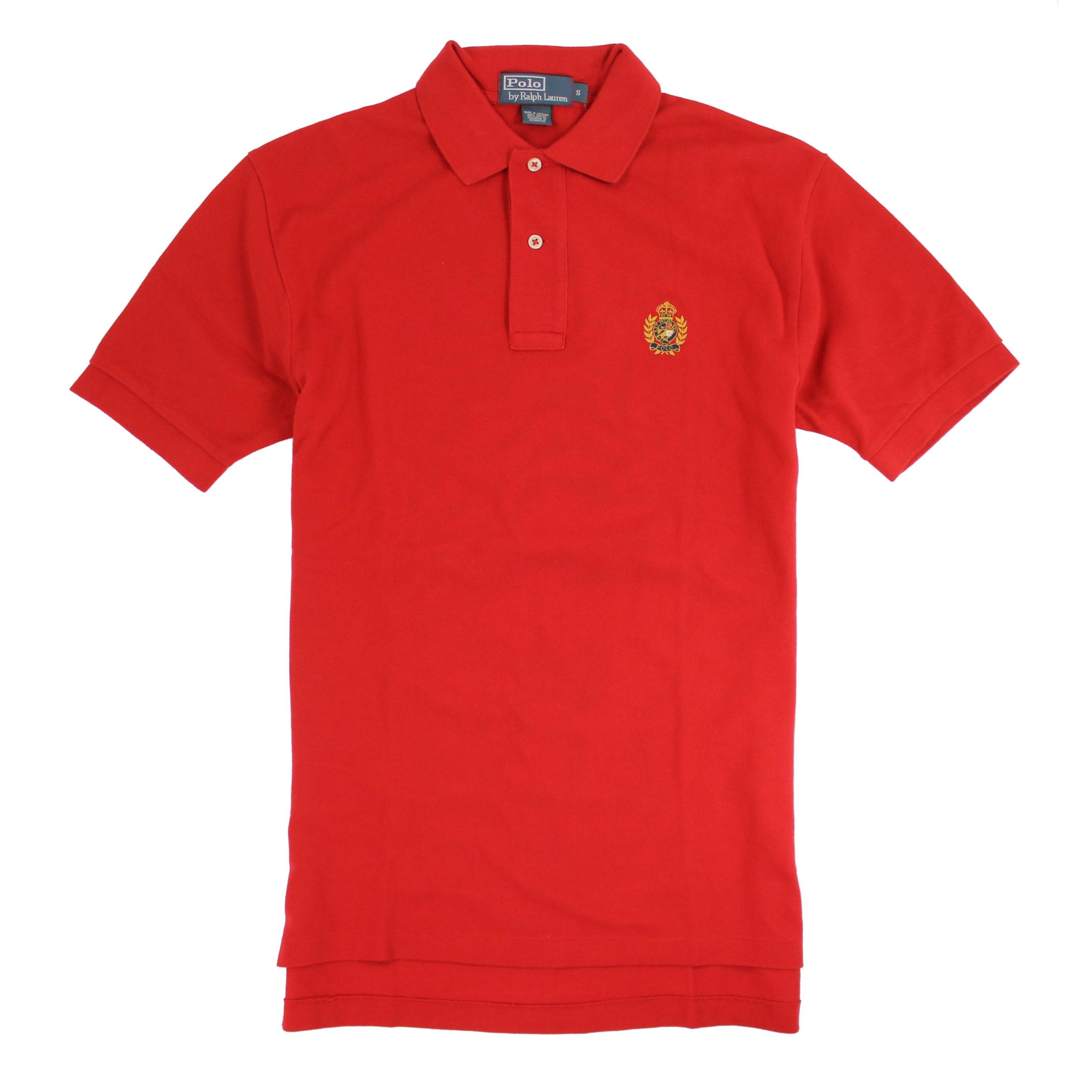 美國百分百【全新真品】Ralph Lauren Polo衫 RL 短 polo 休閒 素面 男 紅色 S號 E136