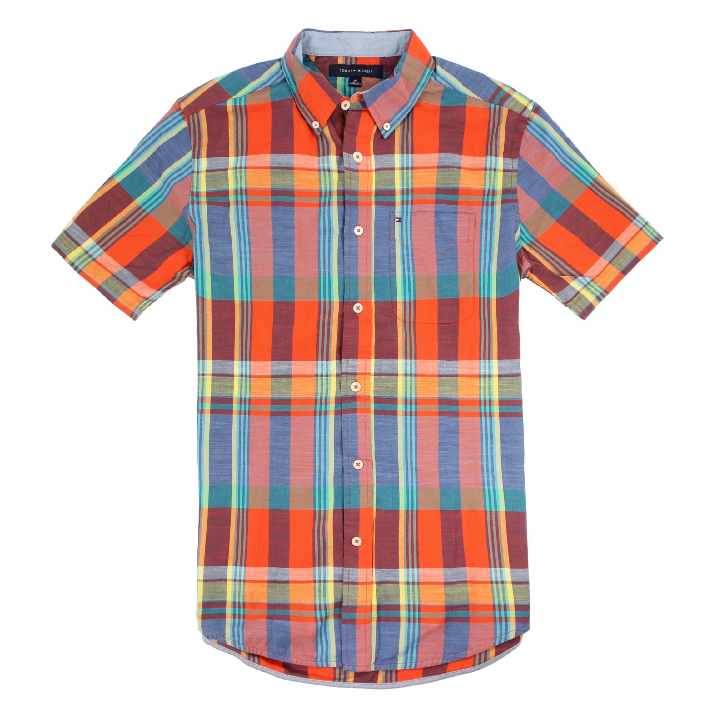 美國百分百【全新真品】Tommy Hilfiger TH 男 襯衫 短袖 上衣 休閒 口袋 橘藍色 格紋 S號 E139