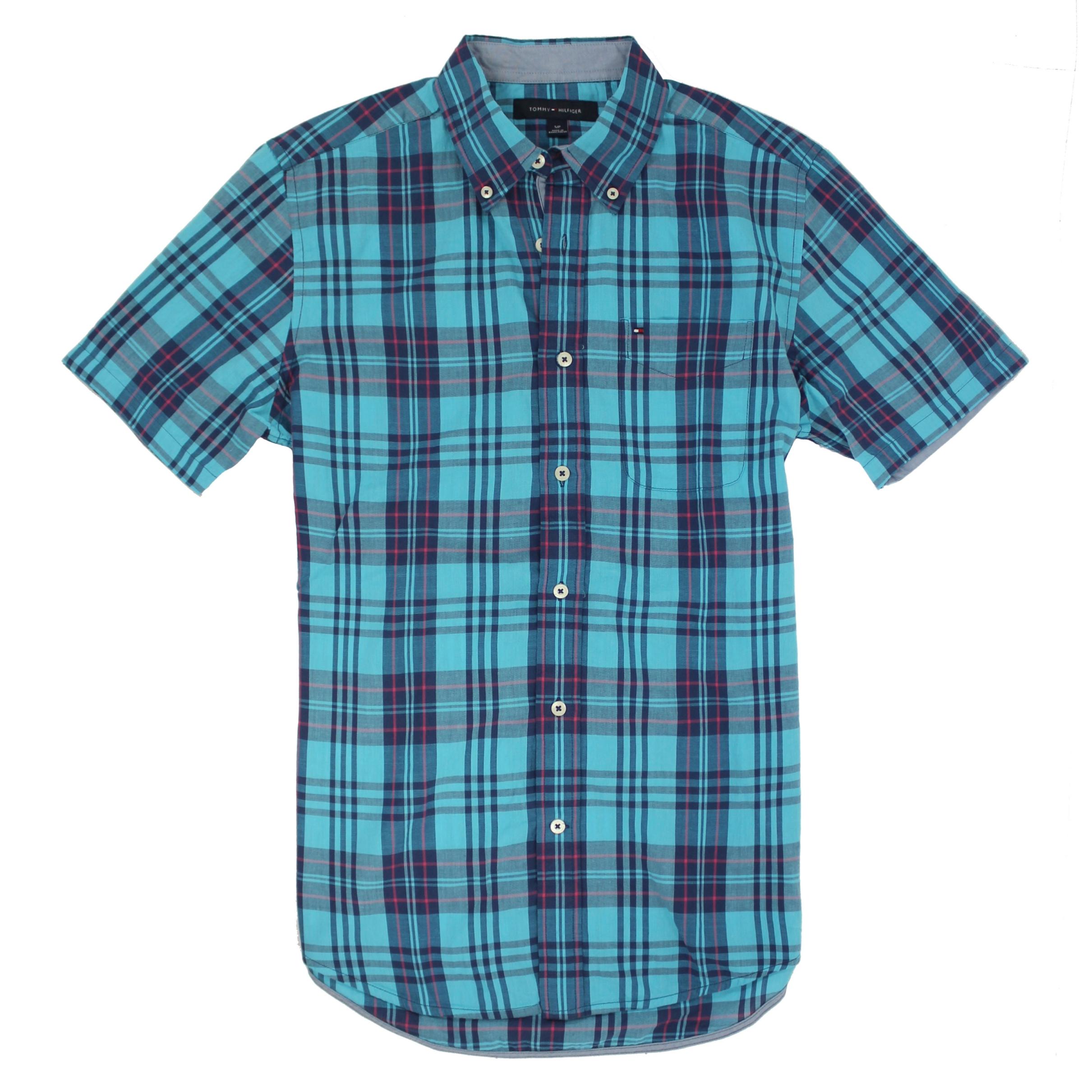美國百分百【全新真品】Tommy Hilfiger TH 男 襯衫 短袖 上衣 休閒 口袋 藍綠色 格紋 S號 E140