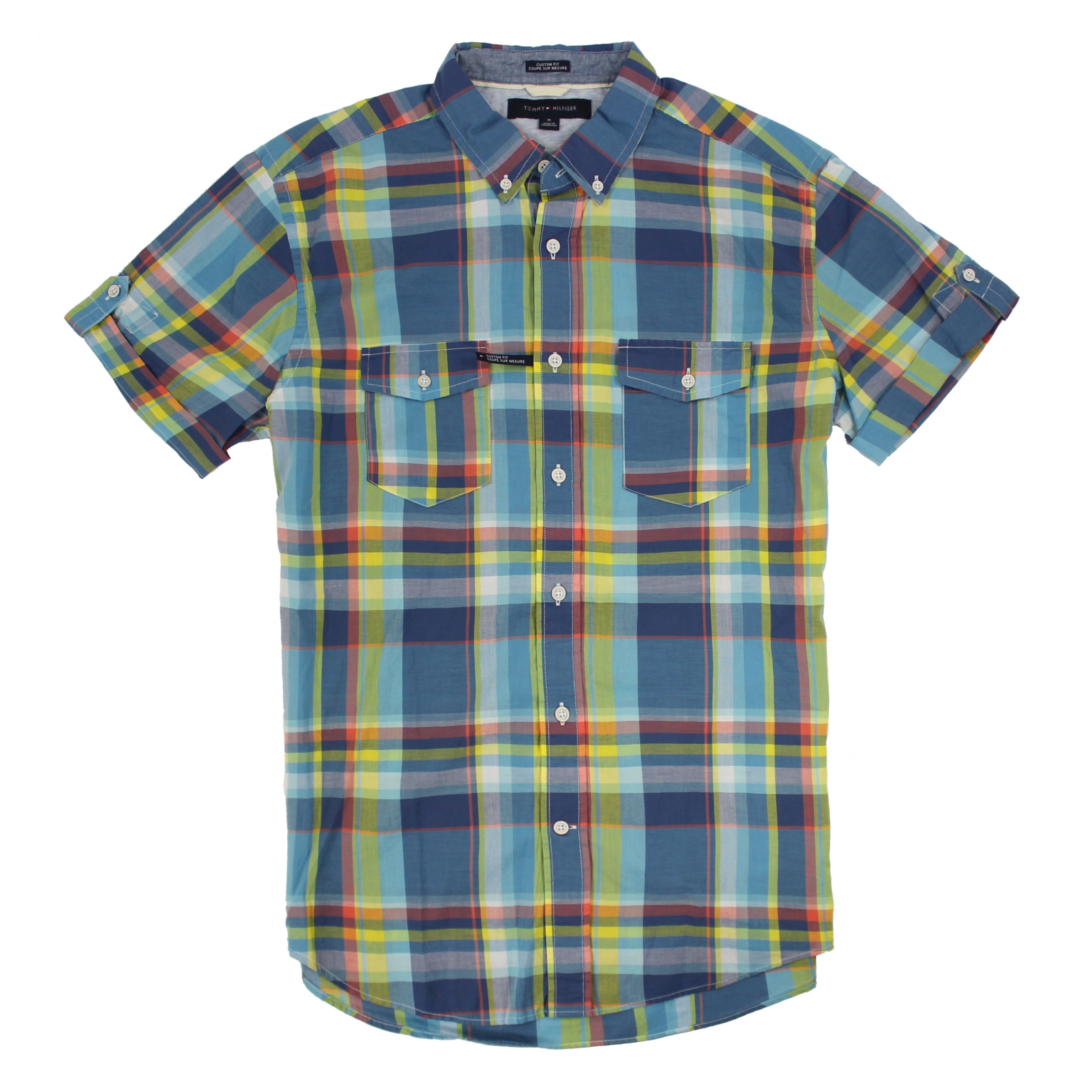 美國百分百【全新真品】Tommy Hilfiger TH 男 襯衫 短袖 上衣 休閒 口袋 藍黃色 格紋 S號 E141