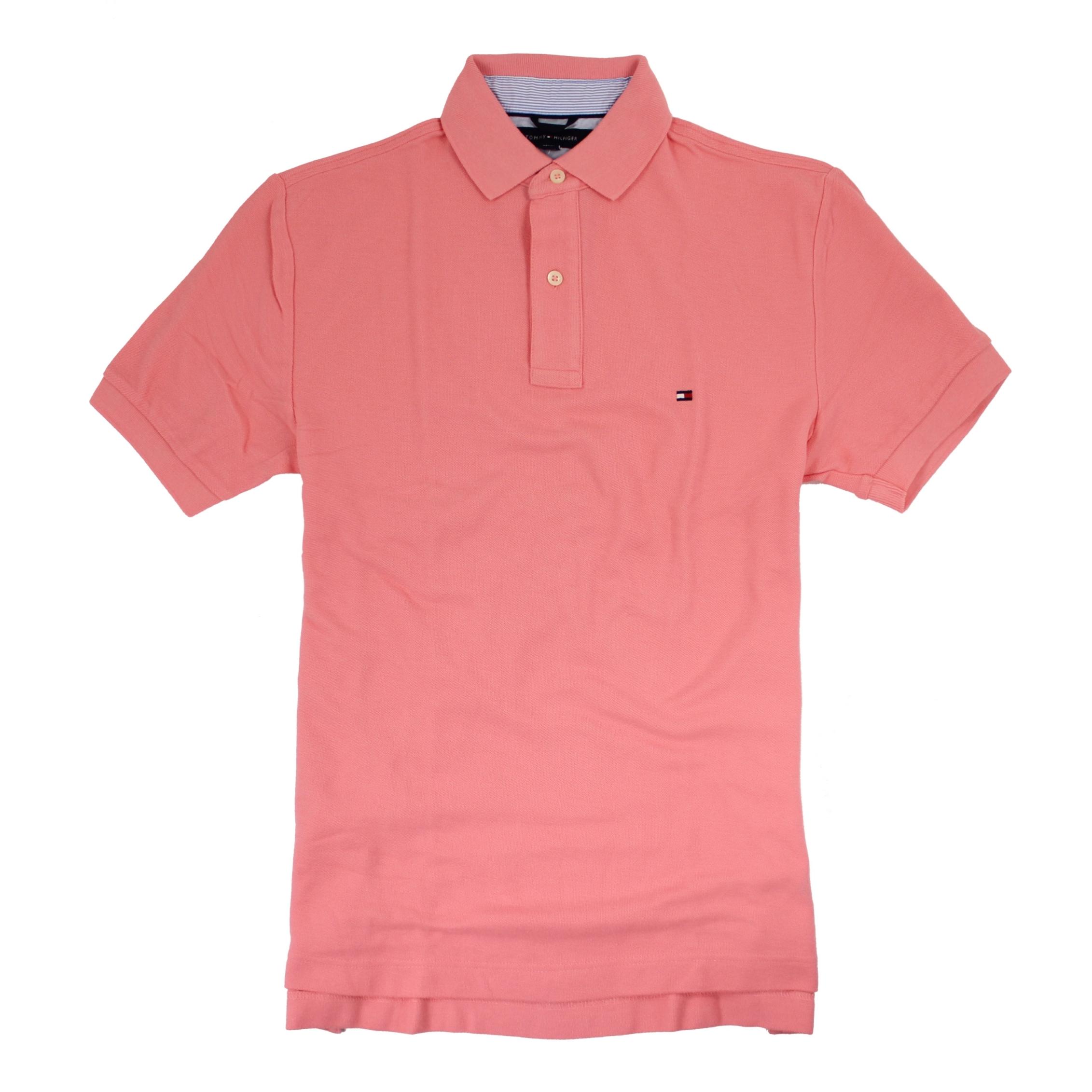 美國百分百【全新真品】Tommy Hilfiger TH 素色 網眼 男 短袖 上衣 POLO衫 粉橘色 S號 E118