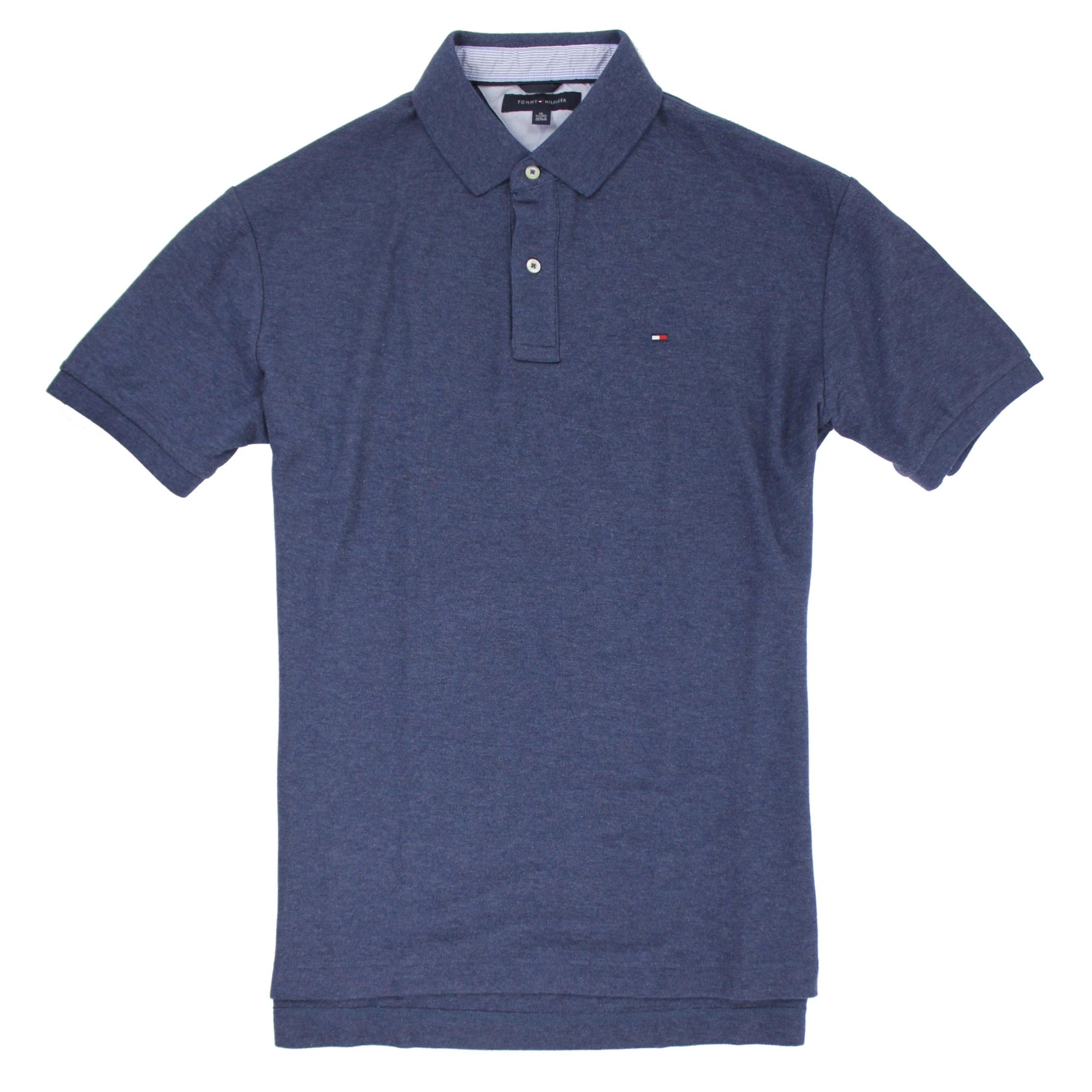 美國百分百【全新真品】Tommy Hilfiger TH 素色 網眼 男 短袖 上衣 POLO衫 藍灰色 XL E118