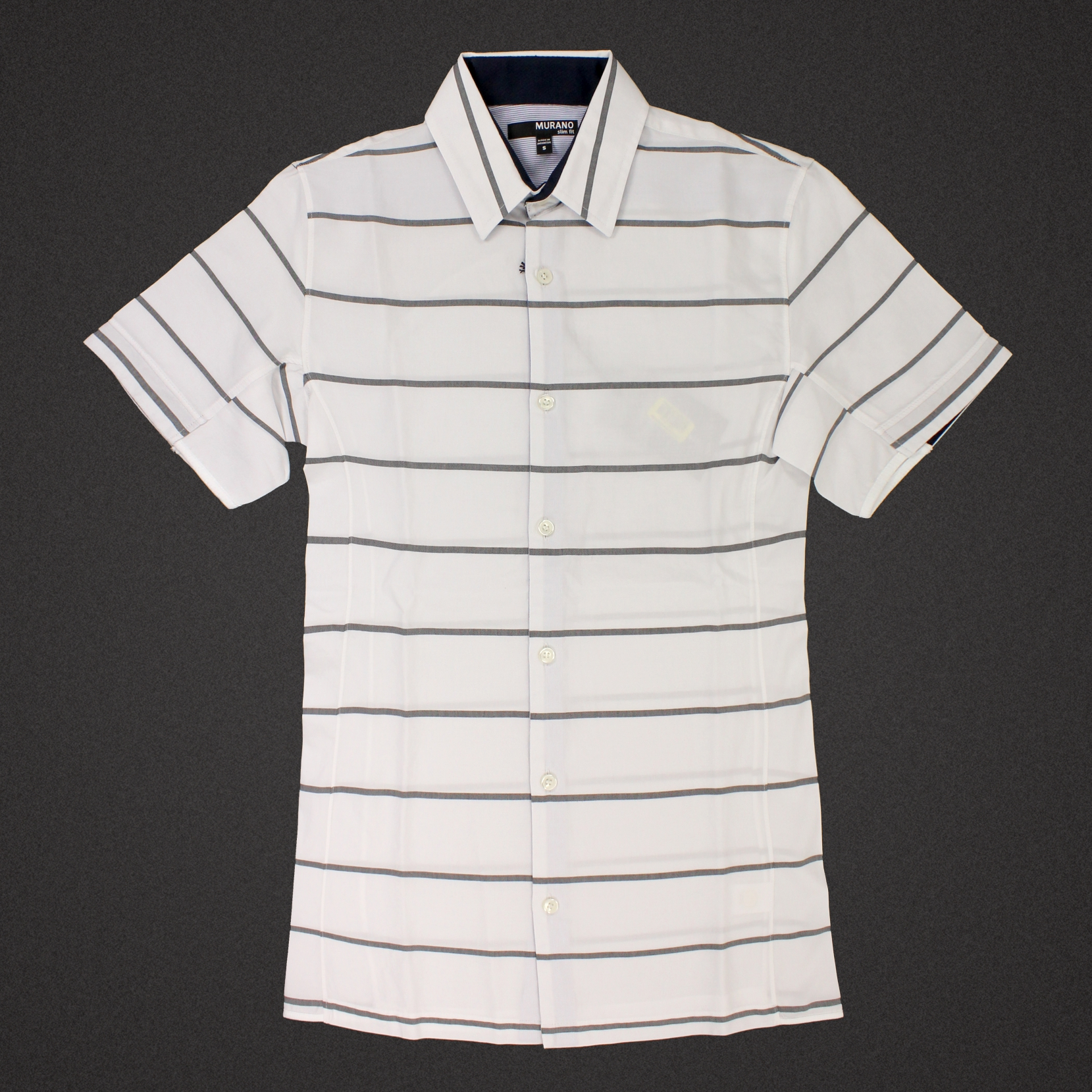 美國百分百【全新真品】MURANO 襯衫 短袖 上衣 上班 休閒 條紋 專櫃 合身 黑 白色 男 XS號 E189