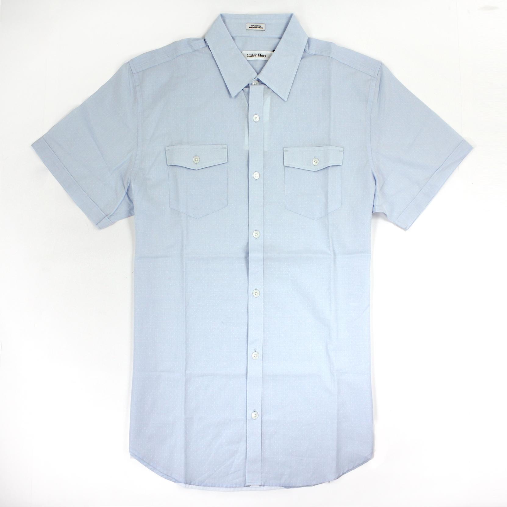 美國百分百【全新真品】Calvin Klein 襯衫 CK 男衣 短袖 水藍色 印花 休閒 襯衫 上衣 M號 E196