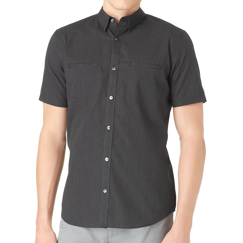 美國百分百【全新真品】Calvin Klein 襯衫 CK 男衣 短袖 黑色 格紋 休閒 襯衫 上衣 S號 E197