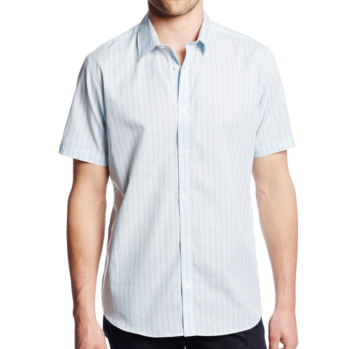 美國百分百【全新真品】Calvin Klein 襯衫 CK 男衣 短袖 水藍色 條紋 休閒 襯衫 上衣 S號 E198