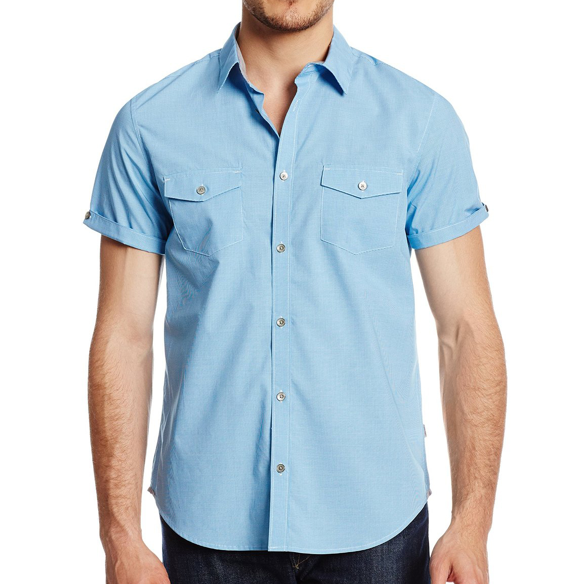 美國百分百【全新真品】Calvin Klein 襯衫 CK 男衣 短袖 藍色 格紋 休閒 襯衫 上衣 S M號 E199