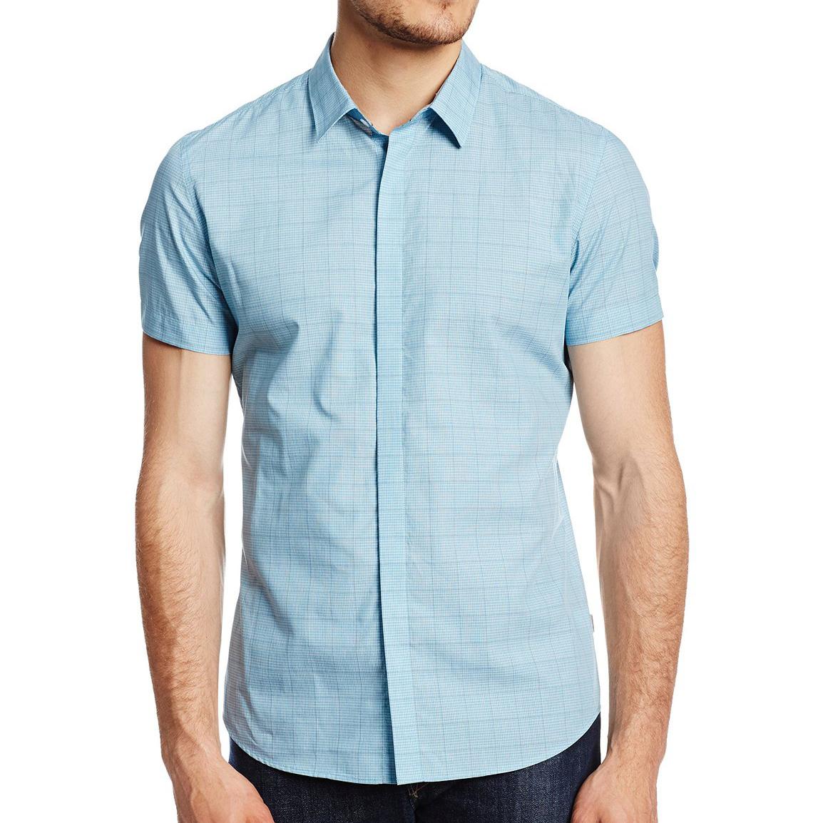 美國百分百【全新真品】Calvin Klein 襯衫 CK 男衣 短袖 湖水綠 格紋 休閒 合身 XS L號 E200