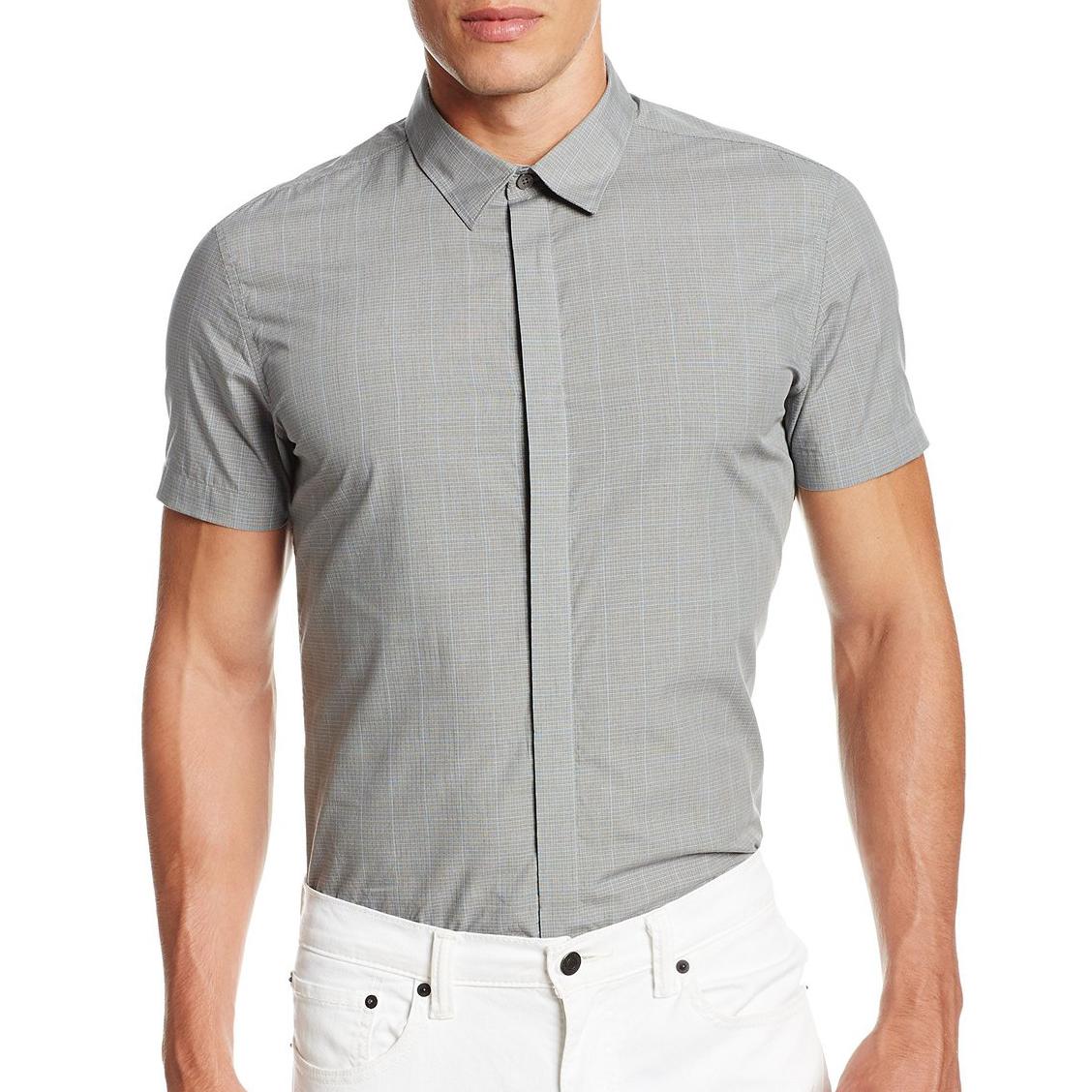 美國百分百【全新真品】Calvin Klein 襯衫 CK 男衣 短袖 灰色 格紋 休閒 合身 上衣 S M號 E200