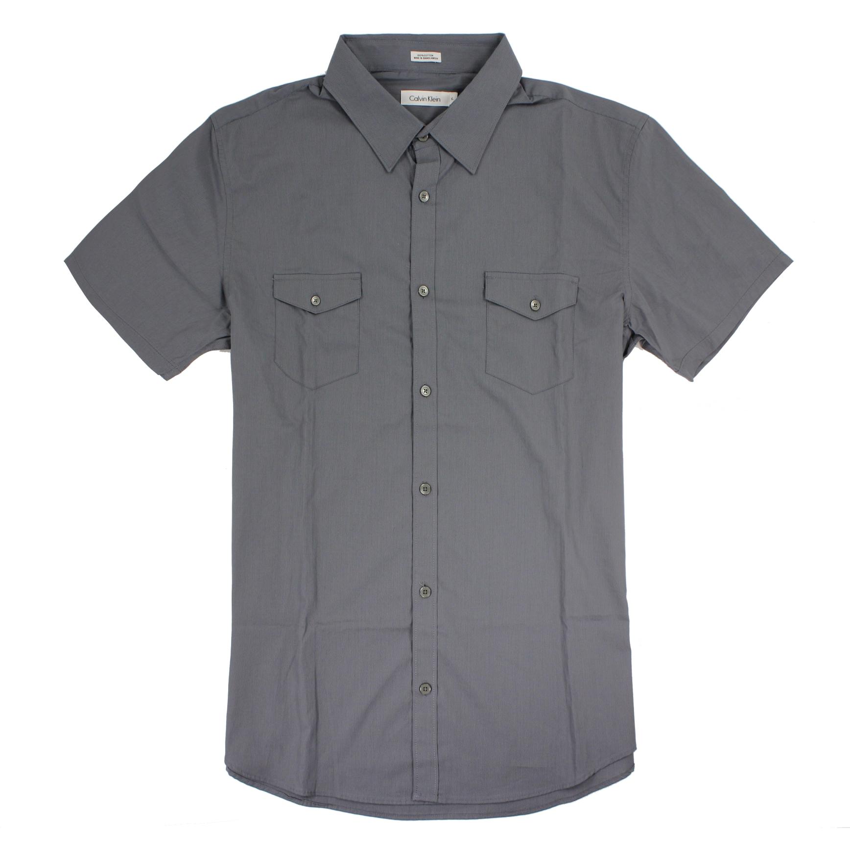 美國百分百【全新真品】Calvin Klein 襯衫 CK 男衣 短袖 條紋 休閒 上衣 XL號 灰色 E202