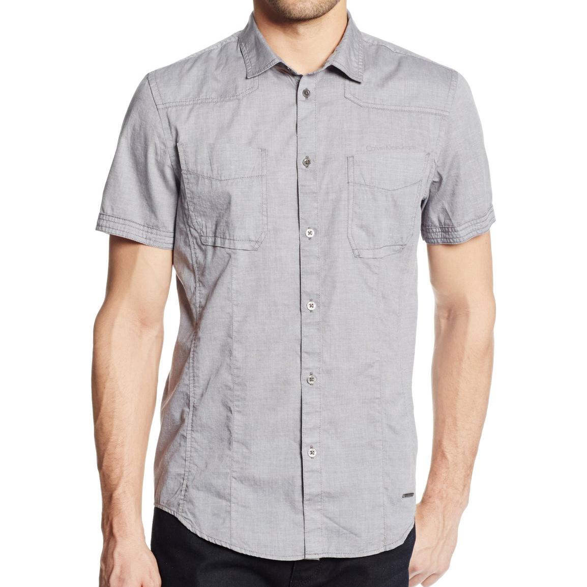 美國百分百【全新真品】Calvin Klein 襯衫 CK 男衣 短袖 素面 休閒 上衣 S號 灰色 E203