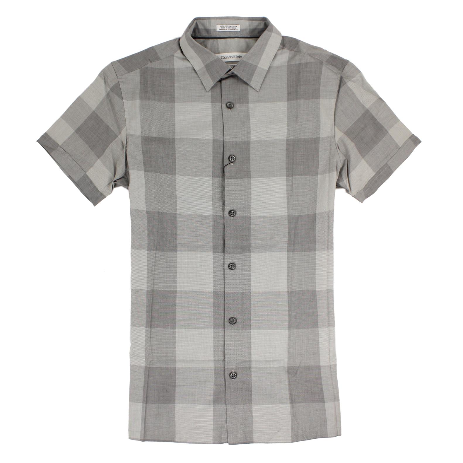 美國百分百【全新真品】Calvin Klein 襯衫 CK 男衣 短袖 格紋 休閒 上衣 XS號 灰色 E210