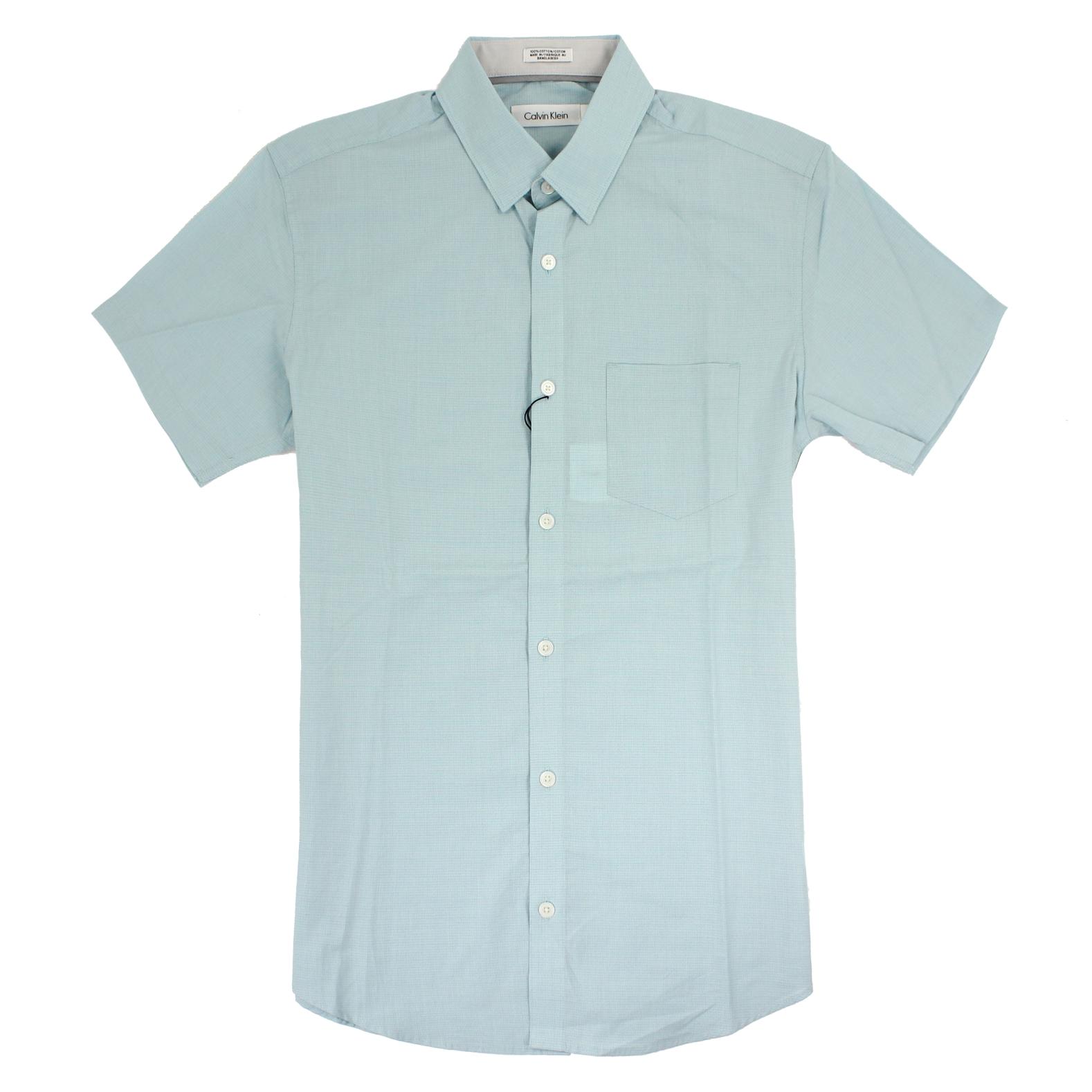 美國百分百【全新真品】Calvin Klein 襯衫 CK 男衣 短袖 格紋 休閒 上衣 S號 湖水綠色 E211