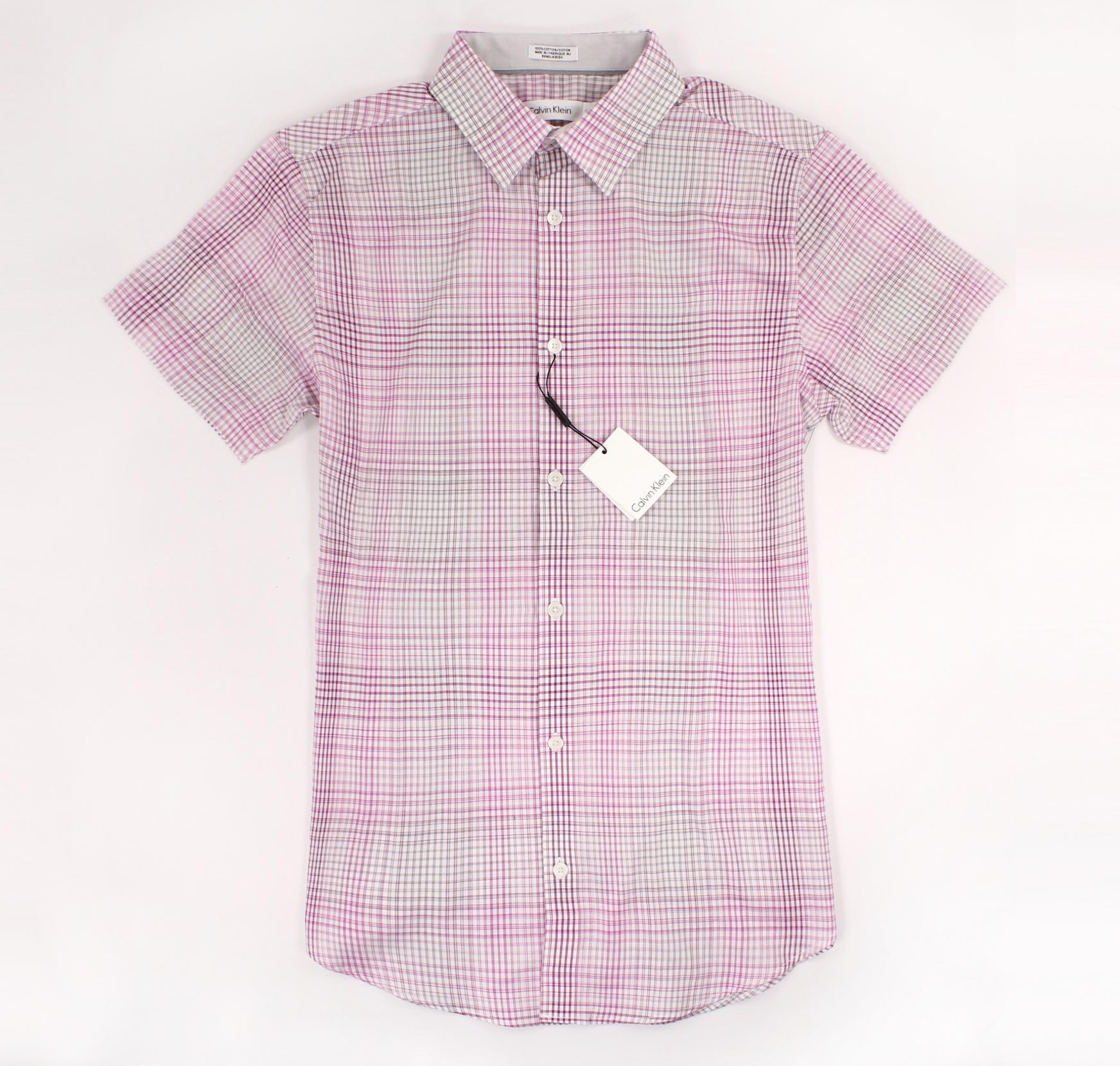 美國百分百【全新真品】Calvin Klein 襯衫 CK 男衣 短袖 格紋 休閒 上衣 S號 漸層 粉紅色 E212