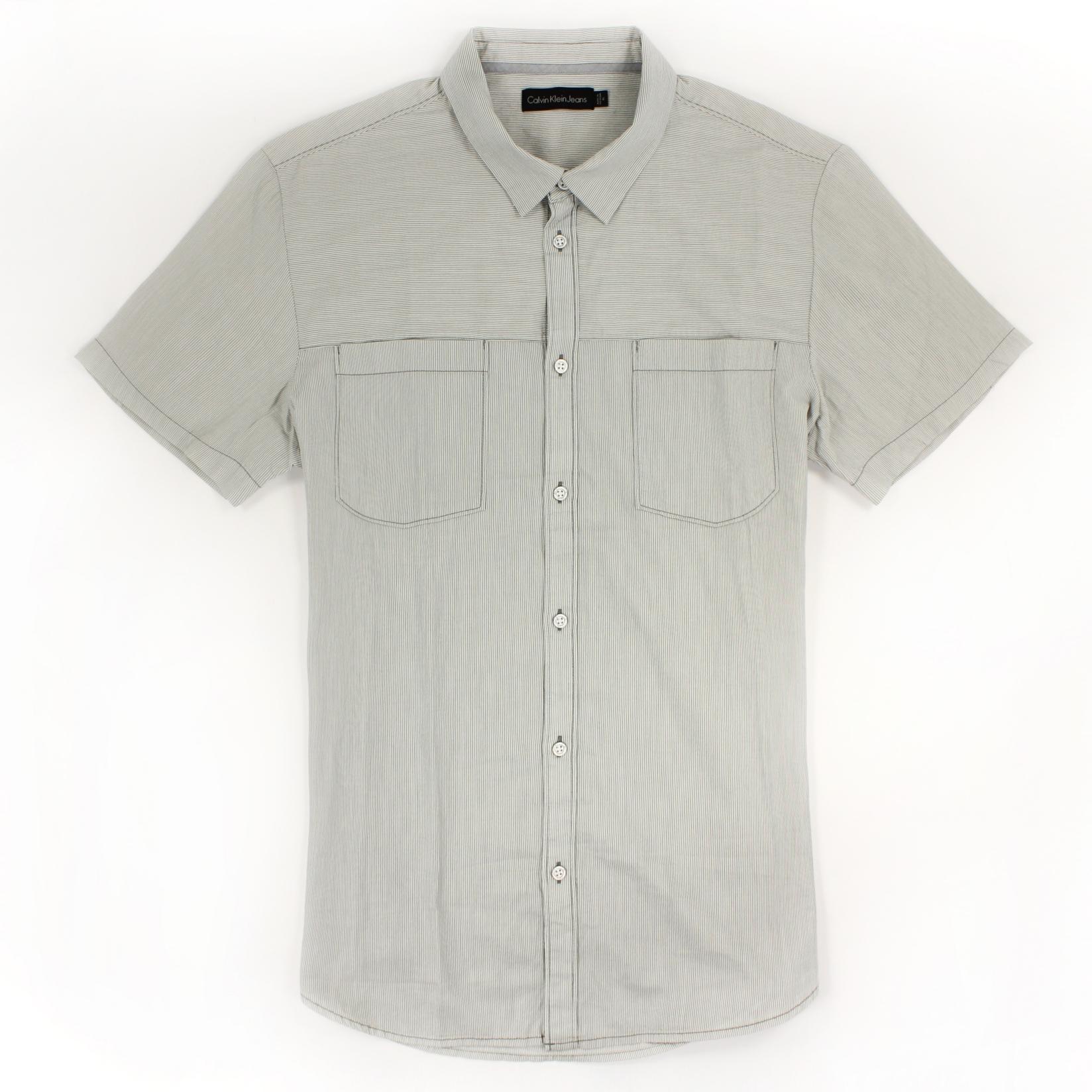 美國百分百【全新真品】Calvin Klein 襯衫 CK 男衣 短袖 條紋 休閒 上衣 XL號 灰色 E214