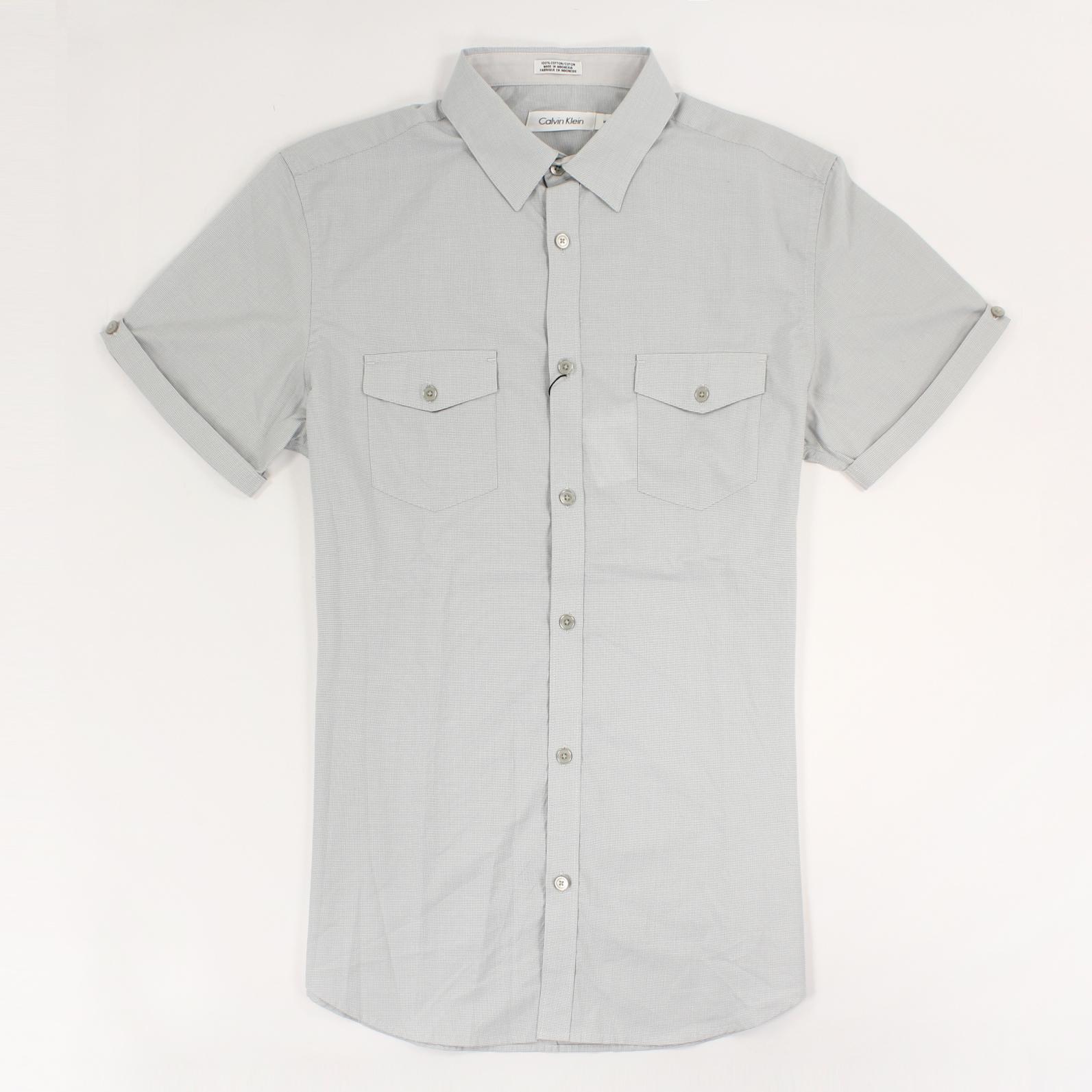 美國百分百【全新真品】Calvin Klein 襯衫 CK 男衣 短袖 格紋 休閒 上衣 M號 灰色 E199