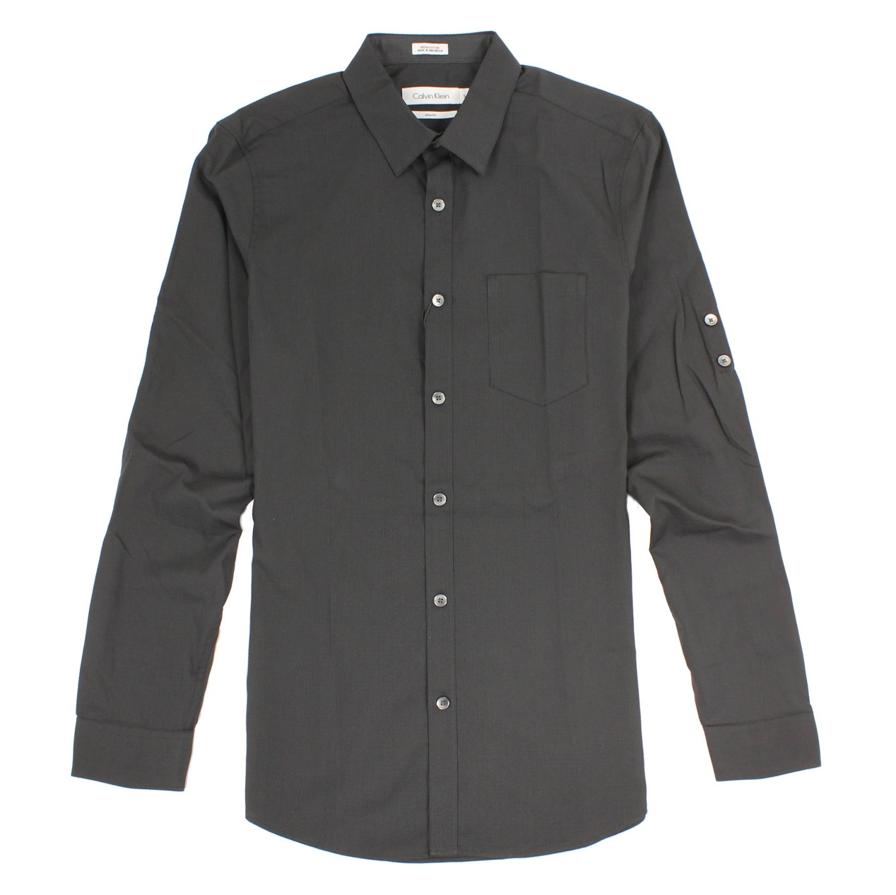 美國百分百【全新真品】Calvin Klein 襯衫 CK 男衣 長袖 上班 休閒 合身 素面 XS號 黑色 E233