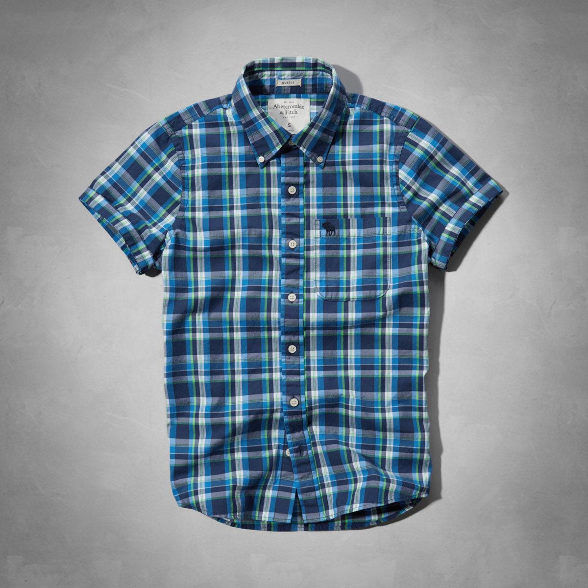 美國百分百【Abercrombie & Fitch】襯衫 AF 短袖 上衣 麋鹿 休閒 藍 綠 格紋 男衣 M E256