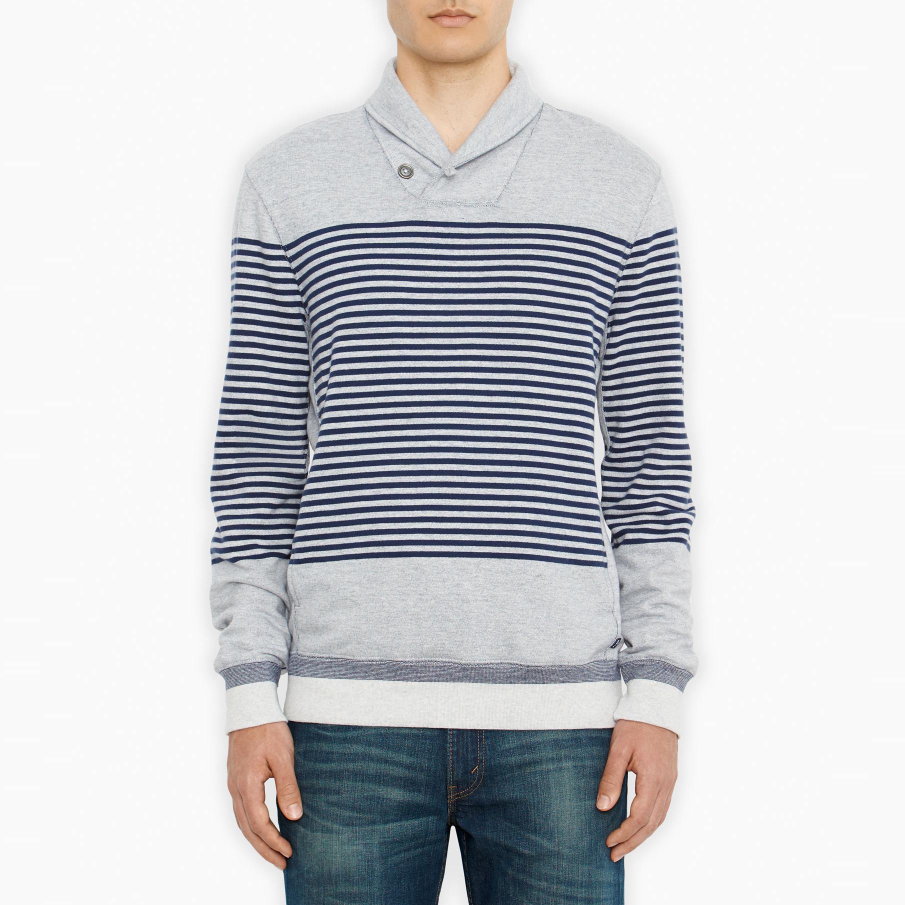 美國百分百【全新真品】Levis T恤 連帽 帽T 外套 長袖 深藍 灰色 條紋 男衣 S M號 E274