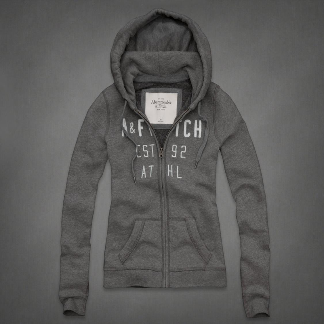 美國百分百【全新真品】Abercrombie & Fitch 外套 AF 連帽 夾克 帽T 麋鹿 灰 女 S號 E296
