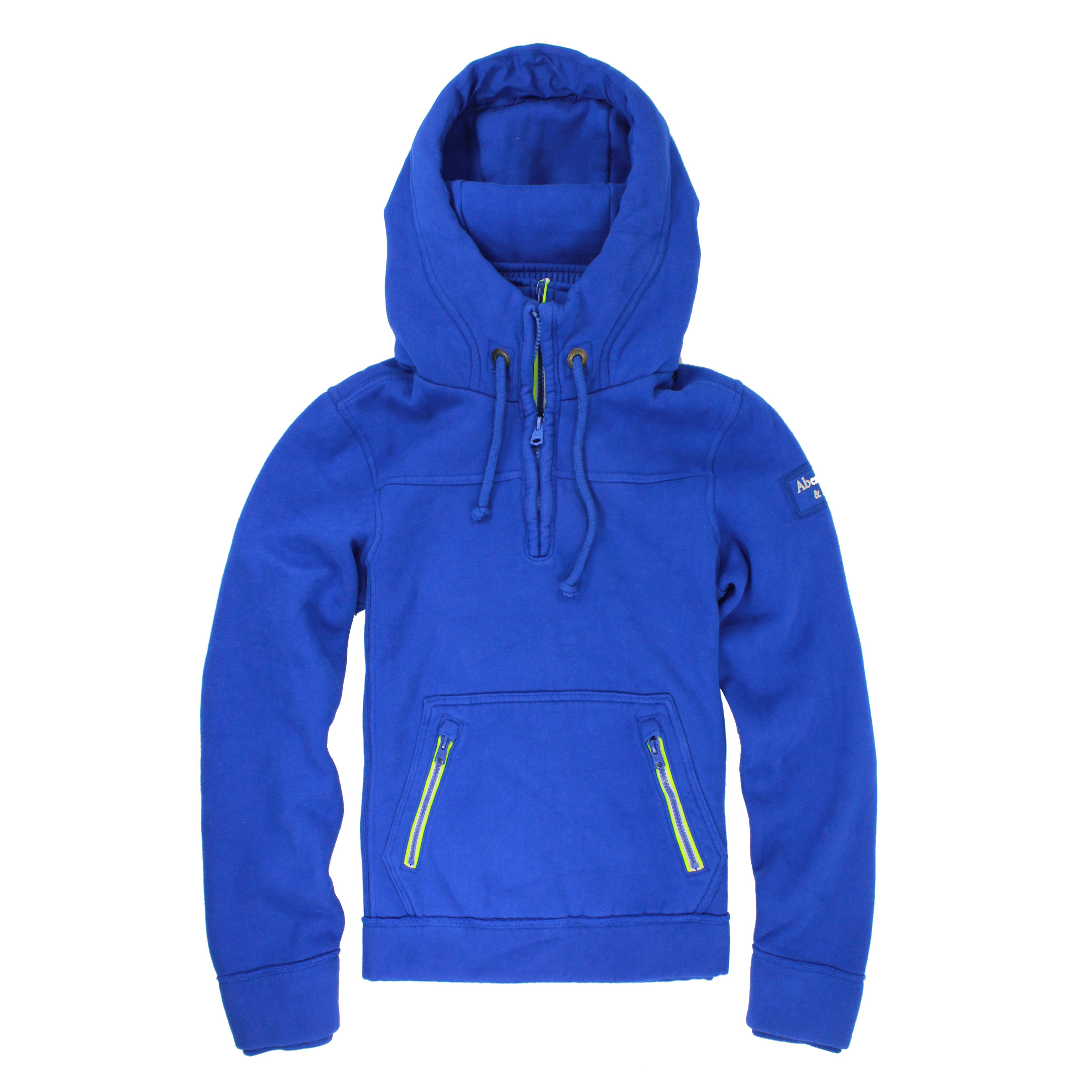 美國百分百【Abercrombie & Fitch】T恤 AF 長袖 T-shirt 麋鹿 連帽 S號 寶藍 E303