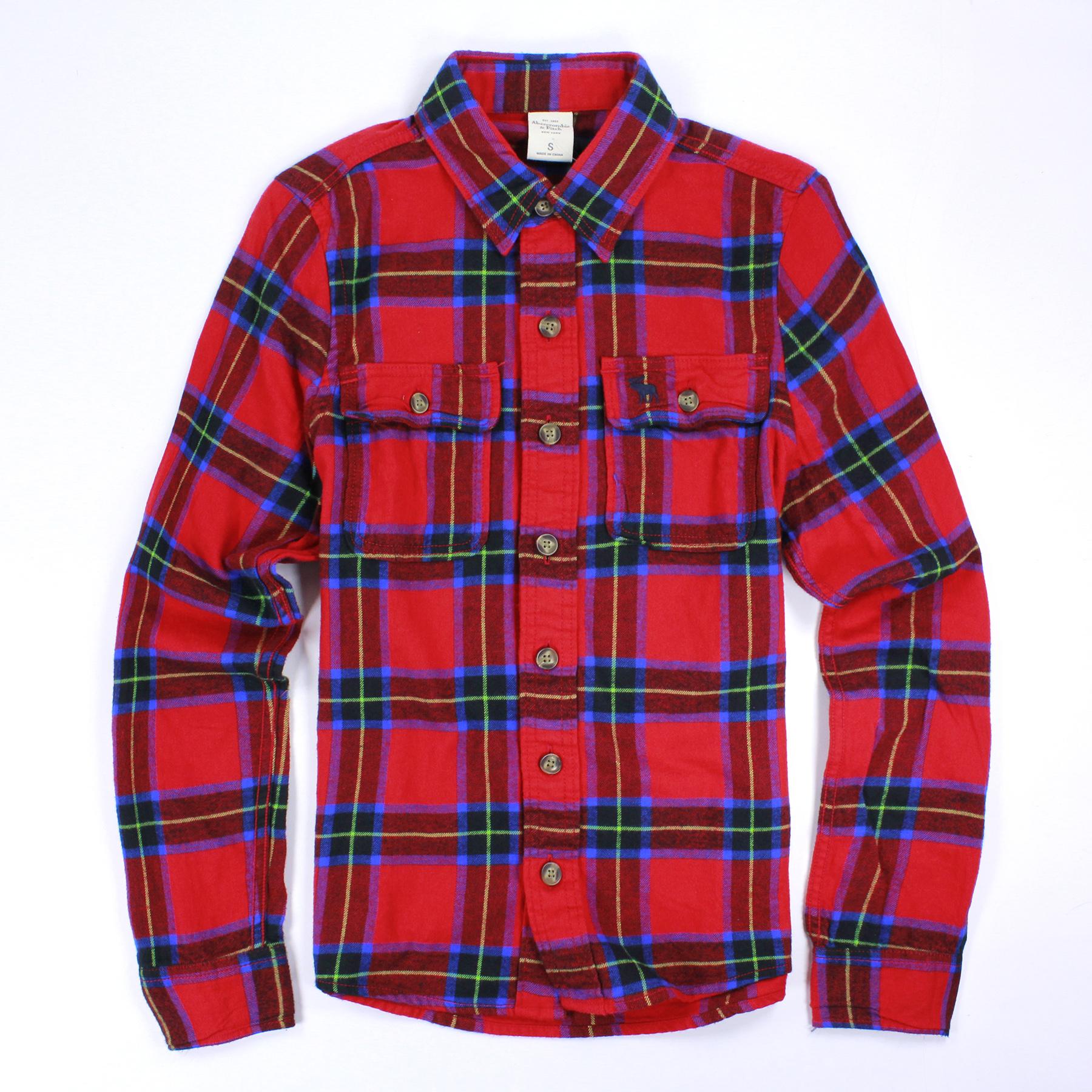 美國百分百【Abercrombie & Fitch】 襯衫 AF 麋鹿 法蘭絨 藍 紅色 格紋 長袖 上衣 S E335