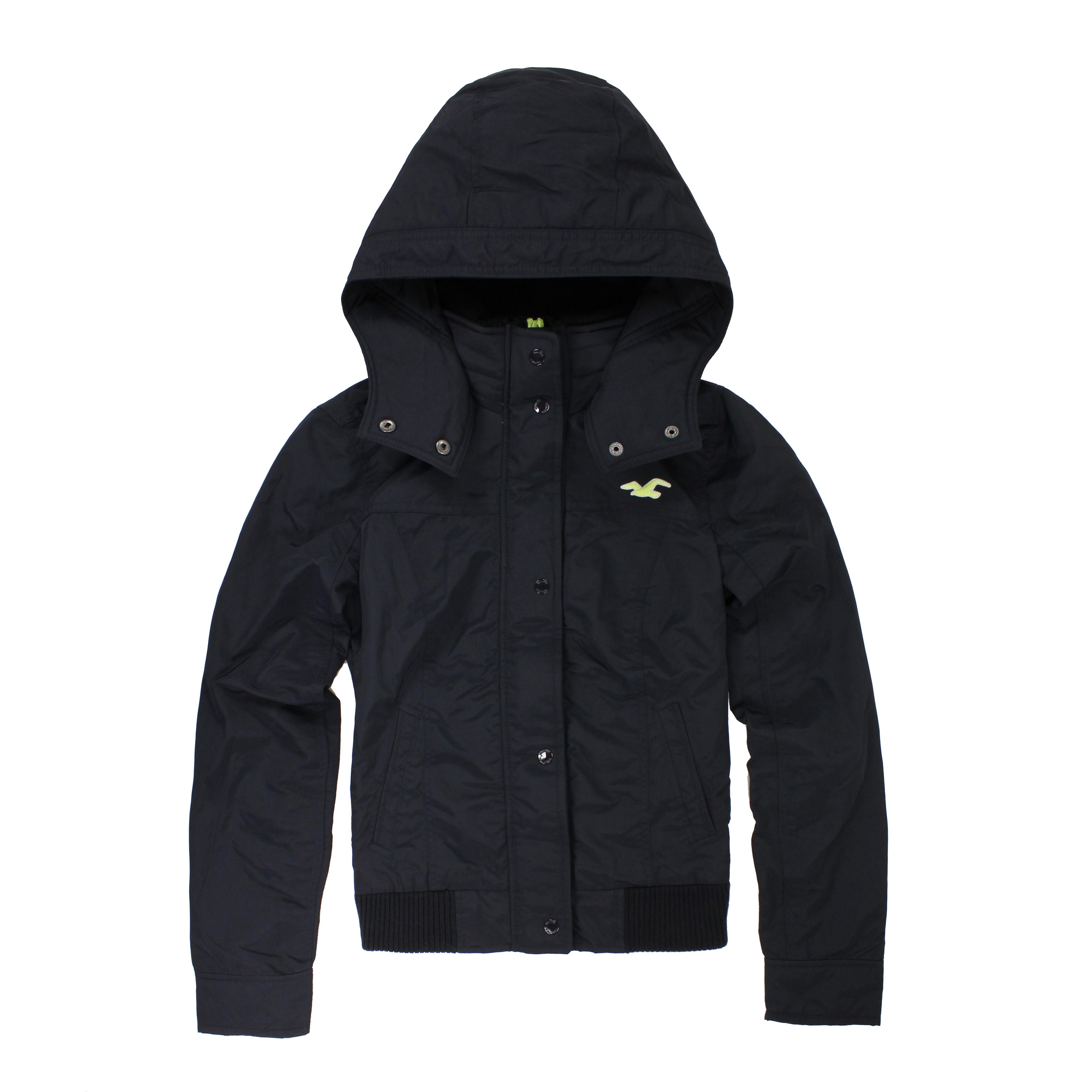 美國百分百【全新真品】Hollister Co. HCO 海鷗 女 深藍 休閒 鋪棉 保暖 連帽 外套 M號 E299