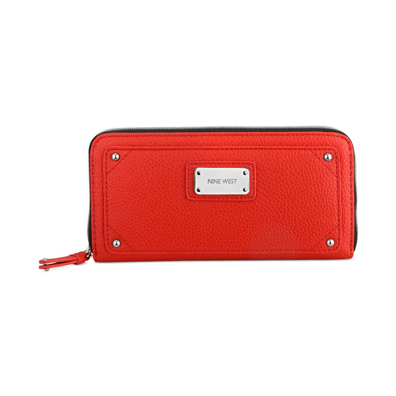 美國百分百【全新真品】NINE WEST 皮夾 小包 手拿包 外出包 長夾 隨身包 晚宴包 錢包 紅色 E346