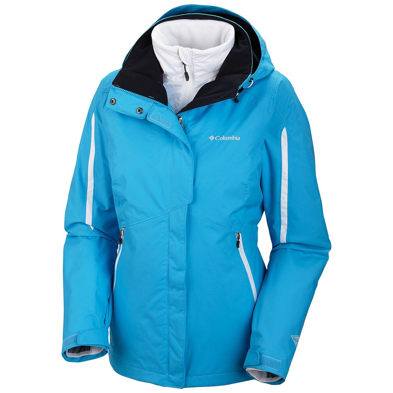 美國百分百【全新真品】Columbia 外套 夾克 連帽外套 哥倫比亞 水藍色 兩件式 防水 透氣 女款 M號 E357