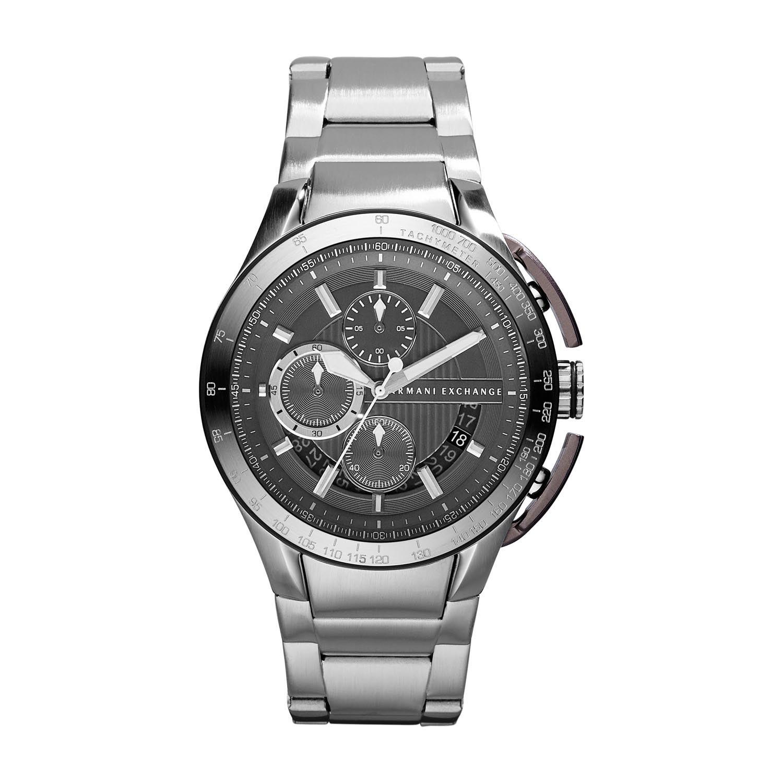 美國百分百【Armani Exchange】配件 AX 手錶 腕錶 金屬 大表面 三眼 計時 阿曼尼 不鏽鋼 E369